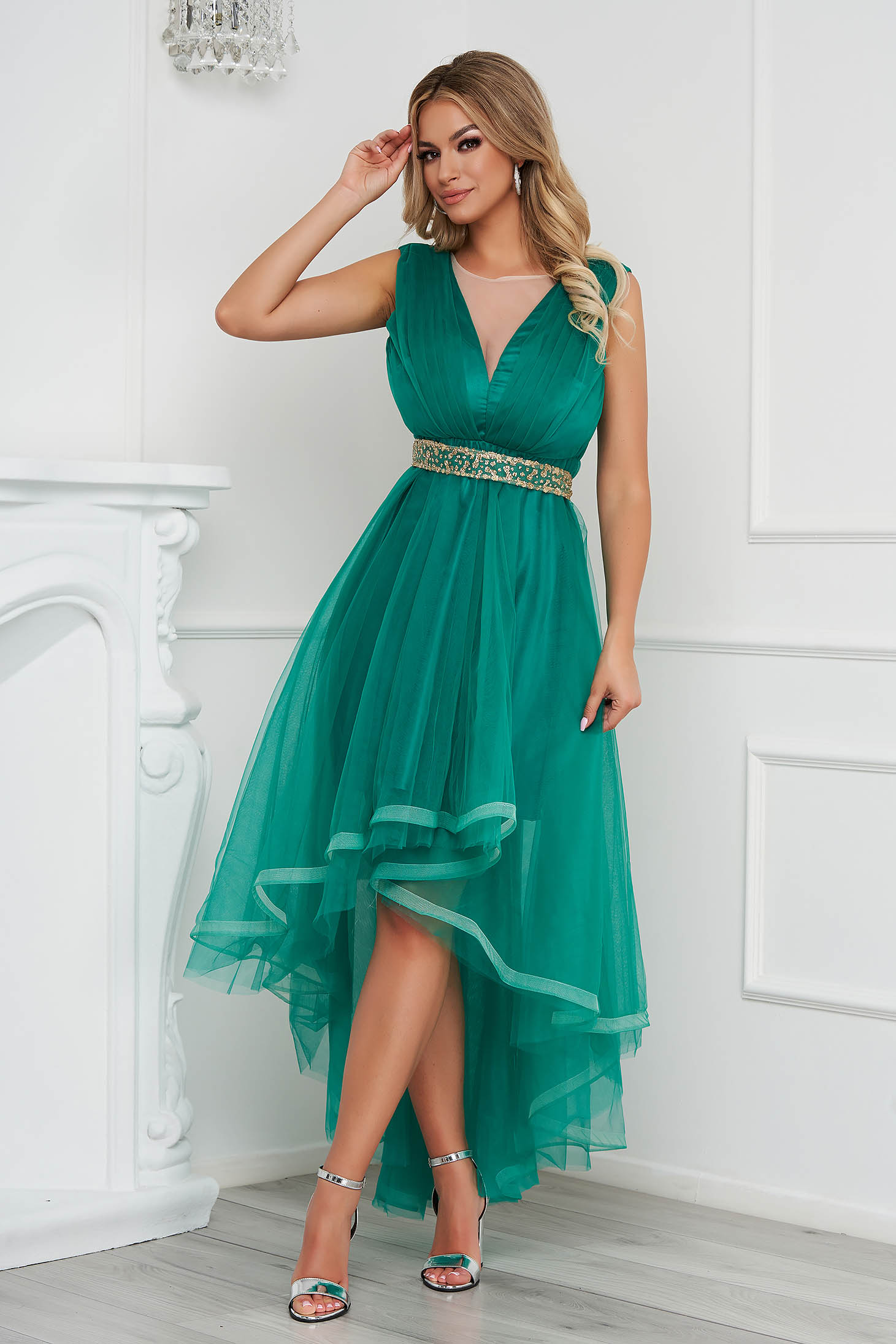 Green dress occasional asymmetrical cloche from tulle detachable cord