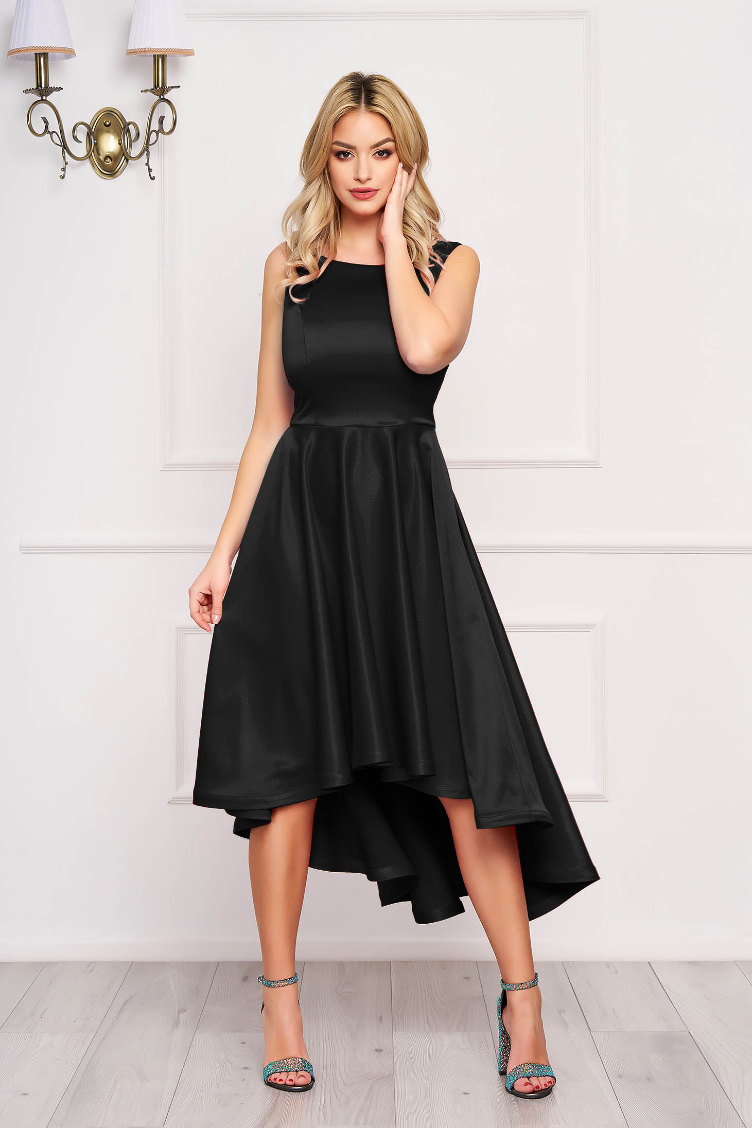 Dress StarShinerS black midi occasional cloche from satin asymmetrical with cut back