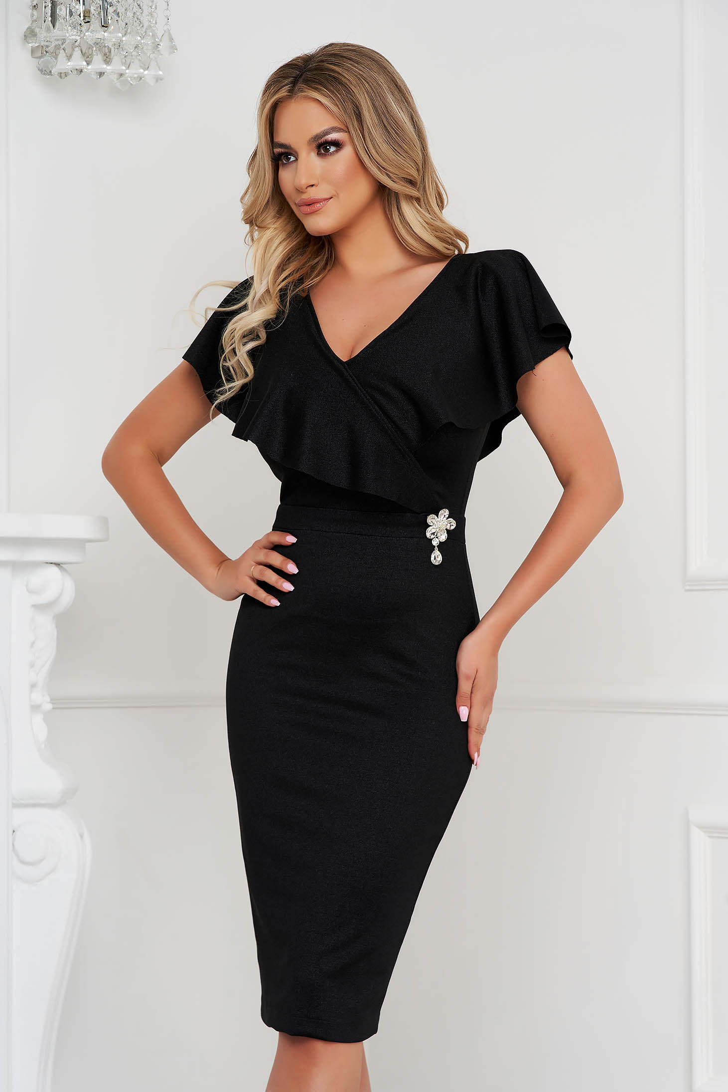 StarShinerS black dress midi pencil from elastic fabric frilly trim around cleavage line