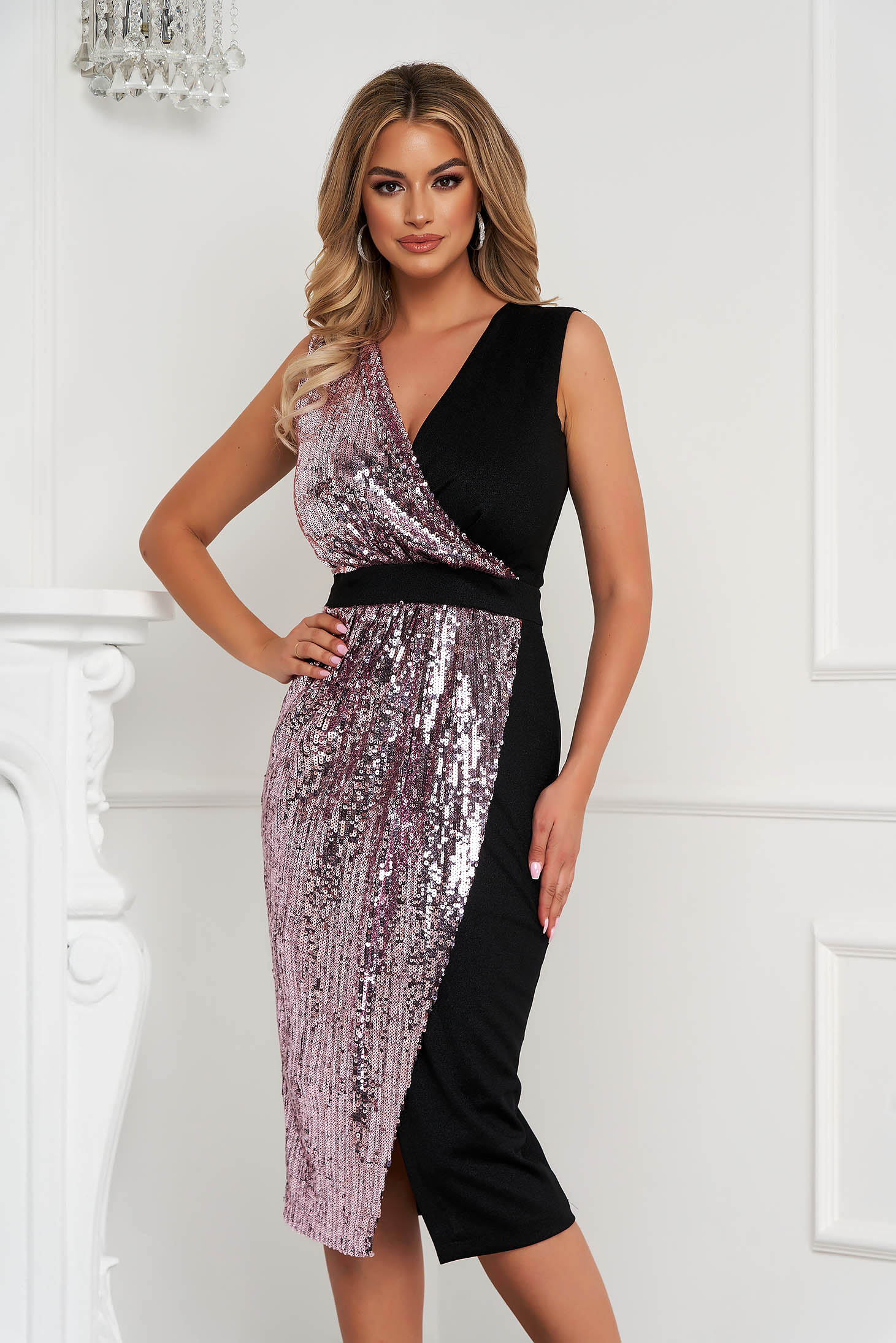 StarShinerS black dress occasional midi pencil with sequins from elastic fabric from shiny fabric