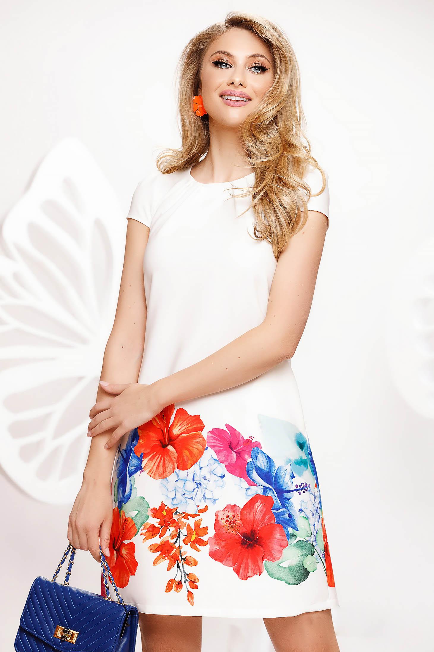 Rochie Fofy alba eleganta scurta cu croi in a din material usor elastic