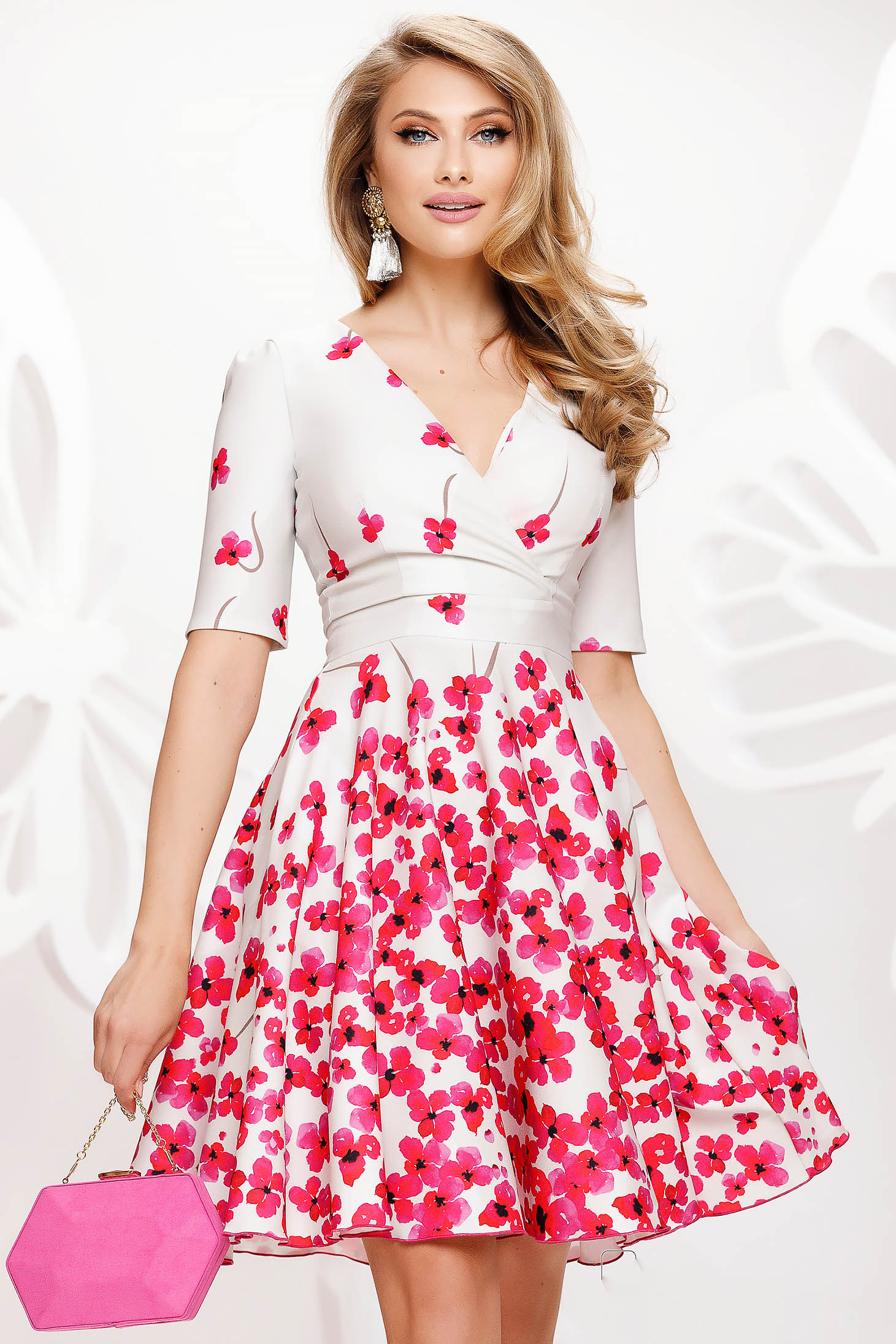 Dress elegant short cut cloche short sleeves thin fabric