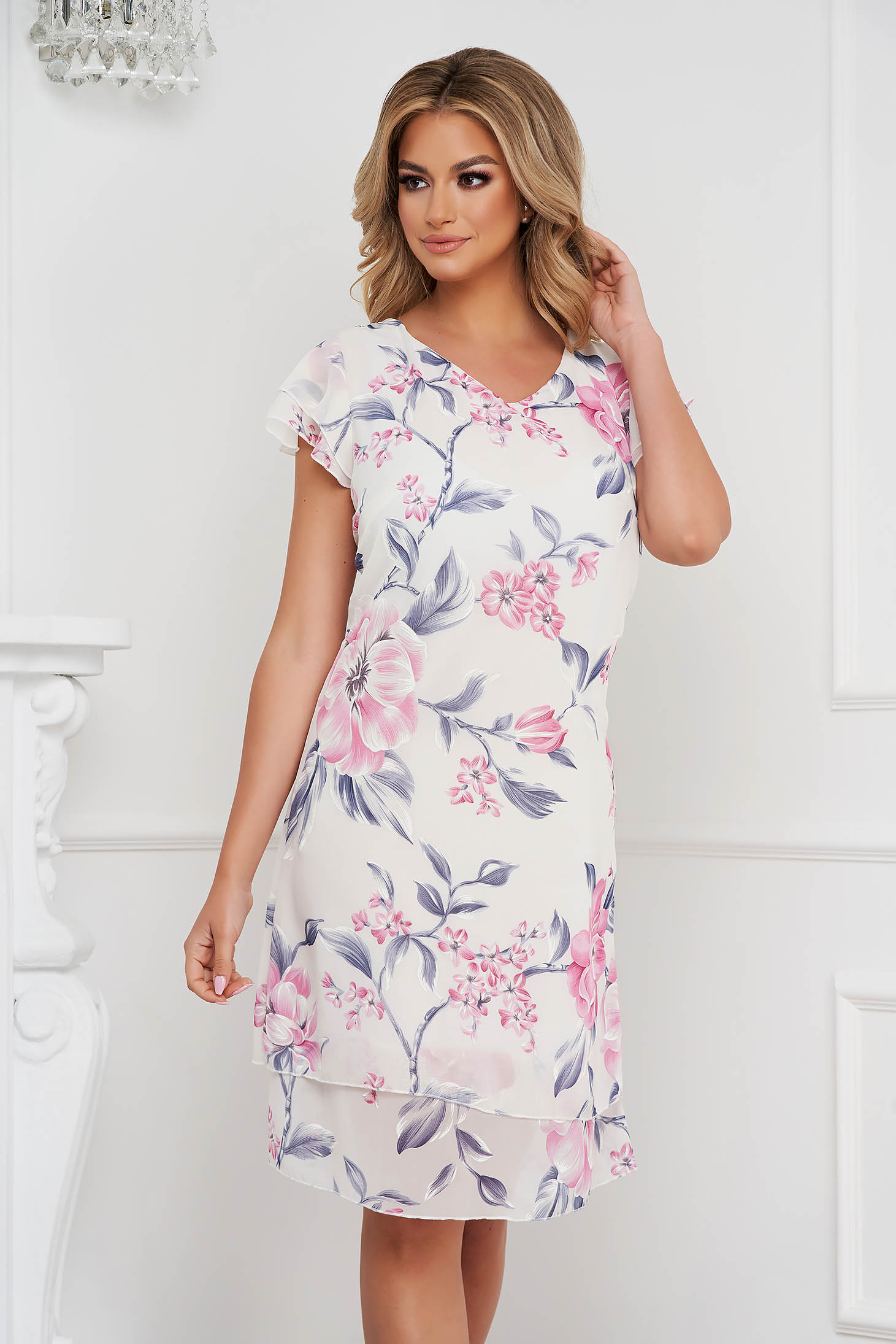 Elegáns a-vonalú világos rózsaszínű fodros muszlin ruha