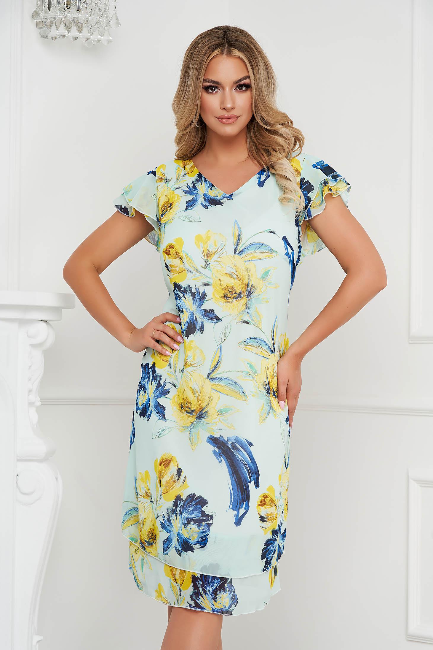 Rochie albastru aqua eleganta din voal cu croi in a cu volanase la maneci