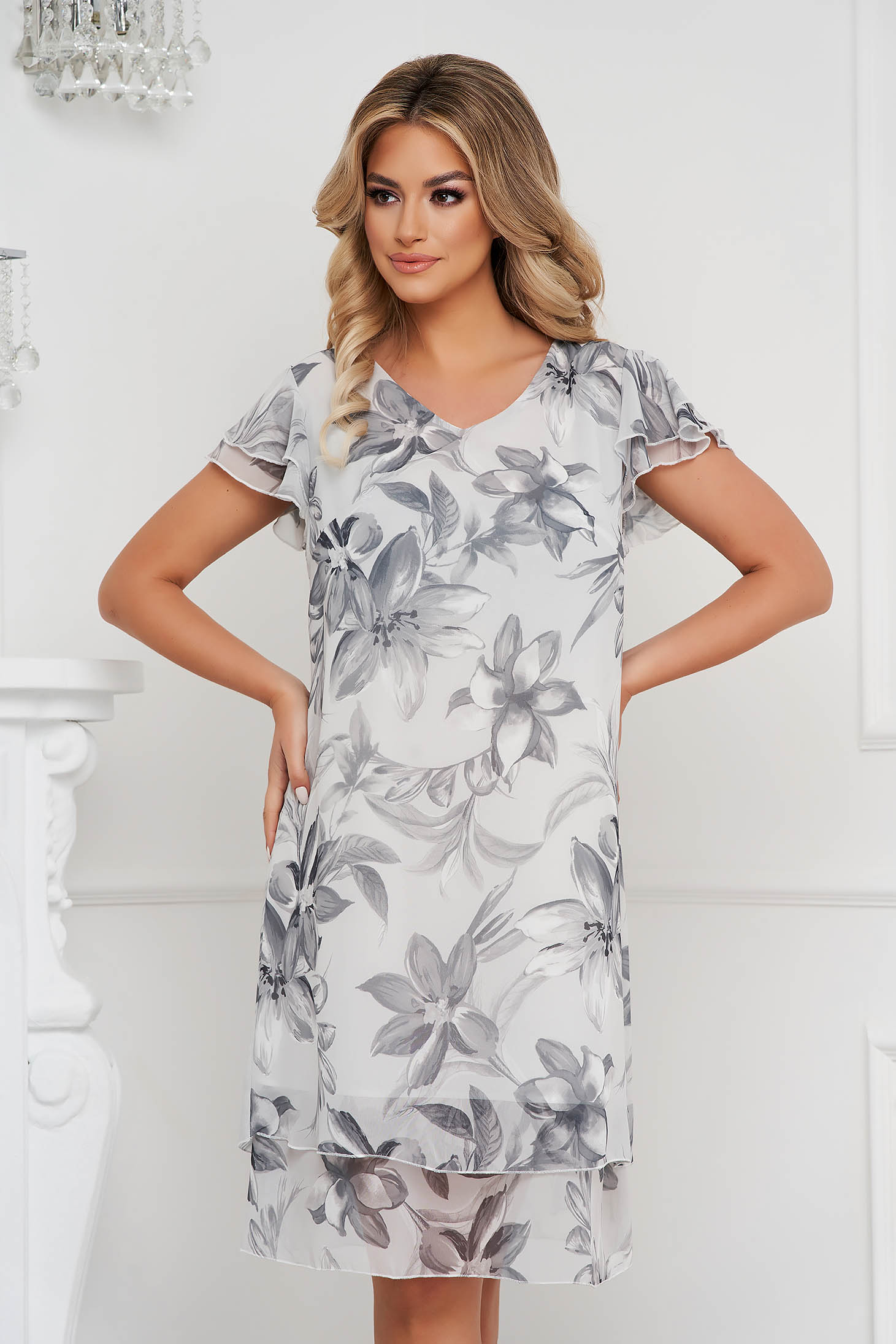Grey dress elegant from veil fabric a-line with ruffle details