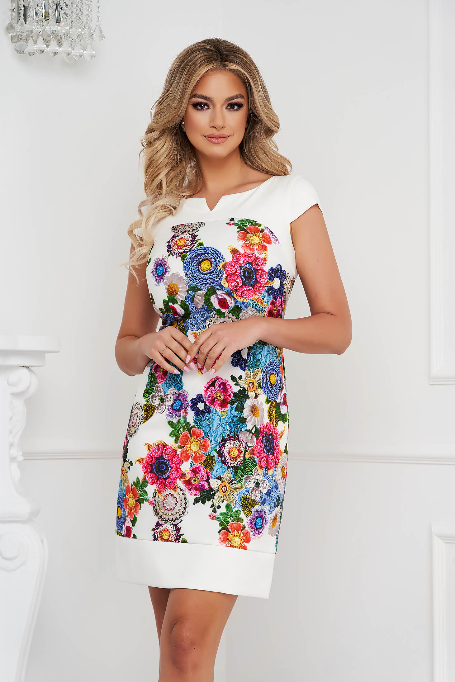 Dress short cut a-line short sleeves with floral print thin fabric