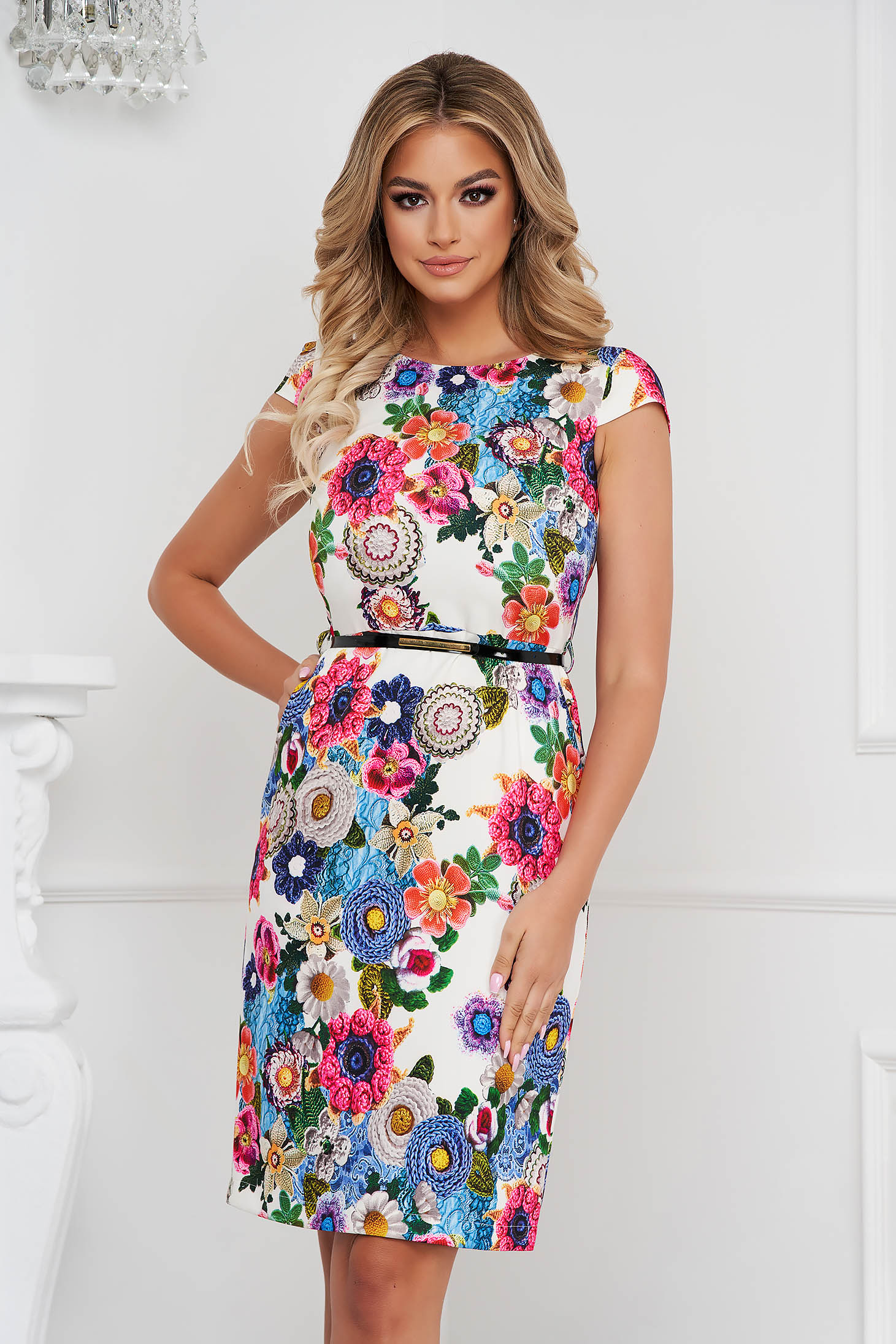 Dress pencil short cut elegant with pockets cloth thin fabric