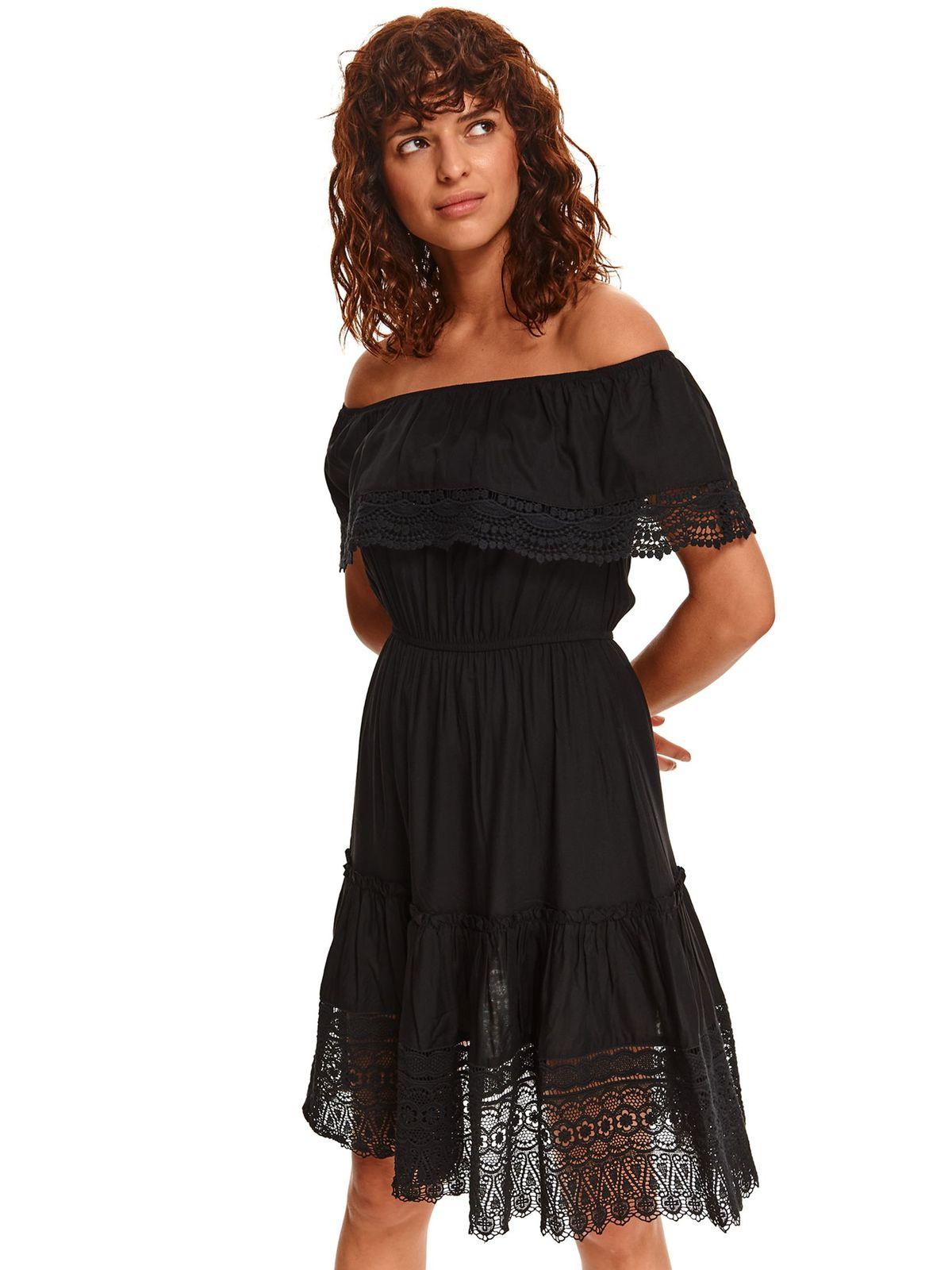 Black dress midi naked shoulders cloche with elastic waist