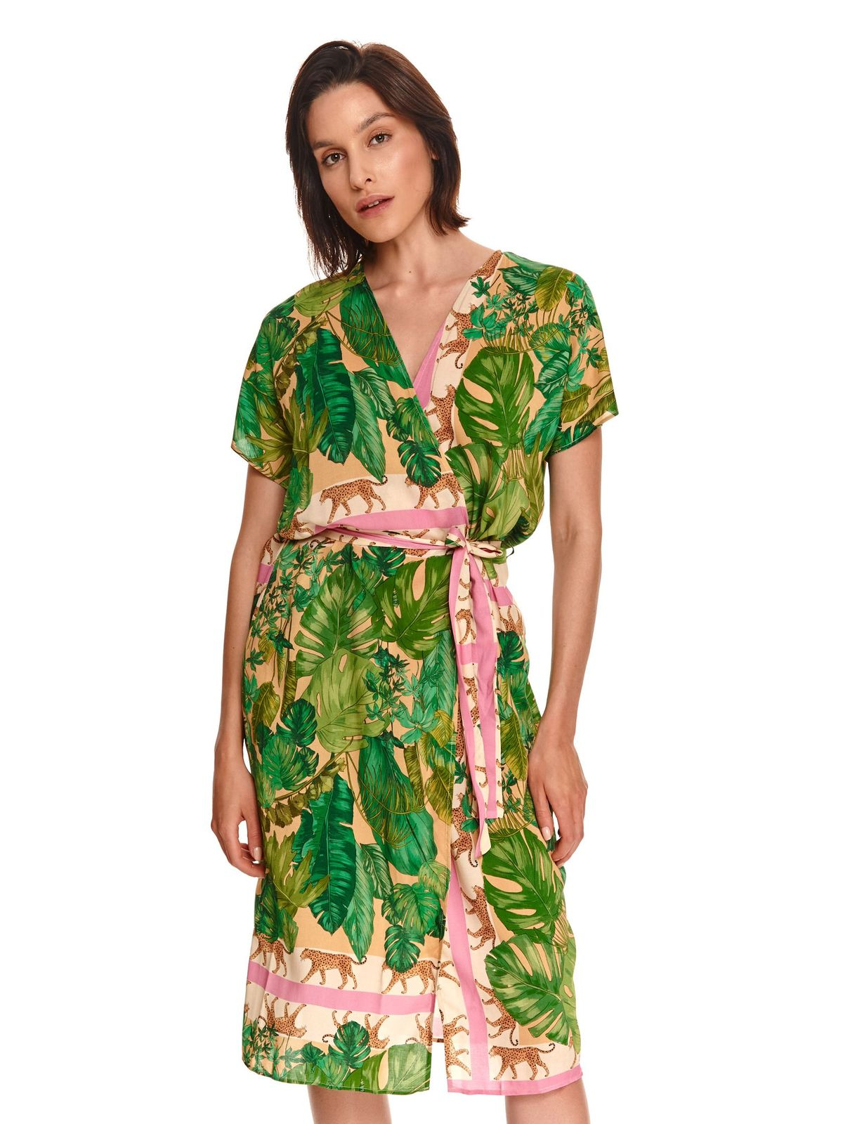 Rochie Top Secret tip cardigan verde petrecuta cu croi larg
