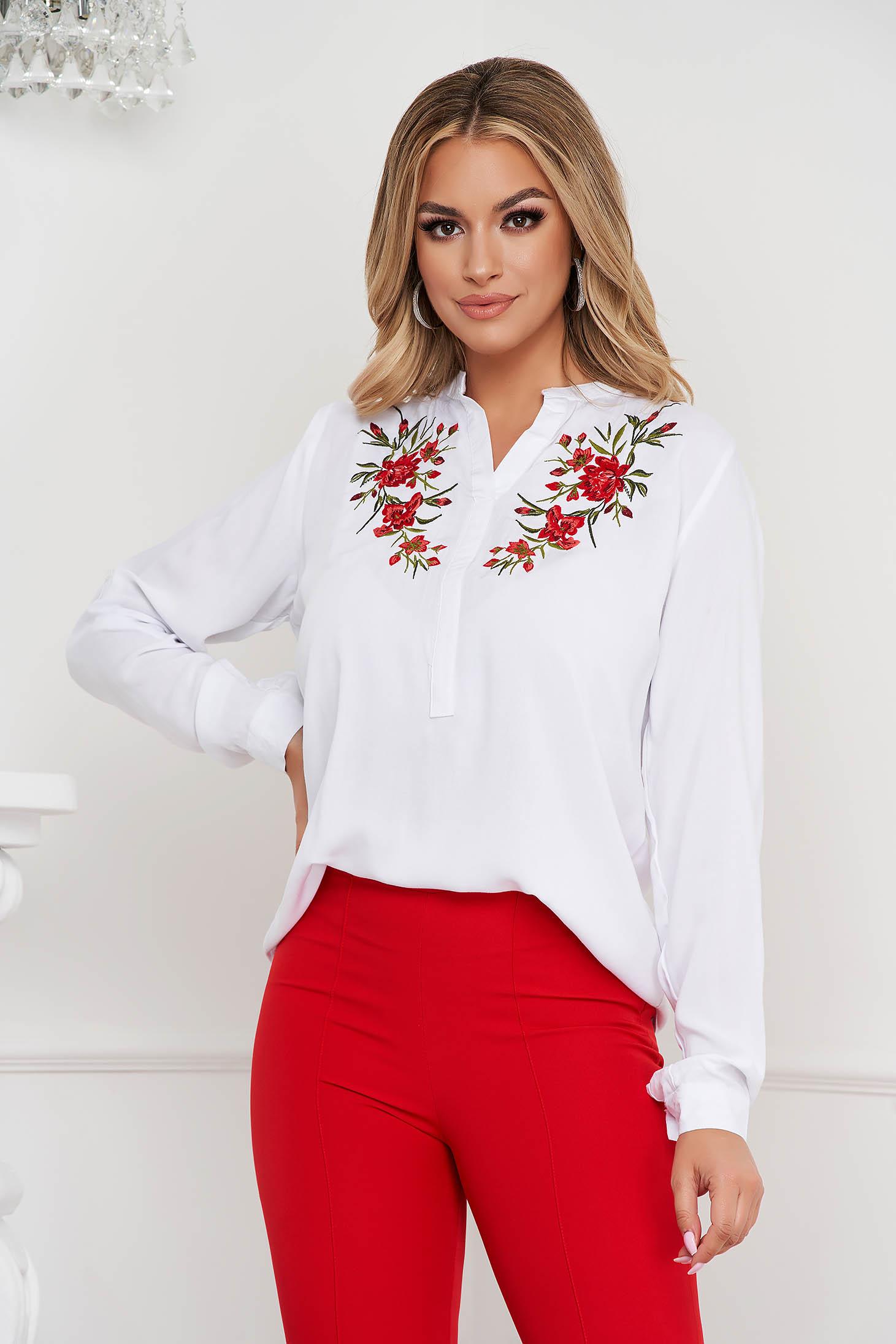 White women`s blouse loose fit cotton