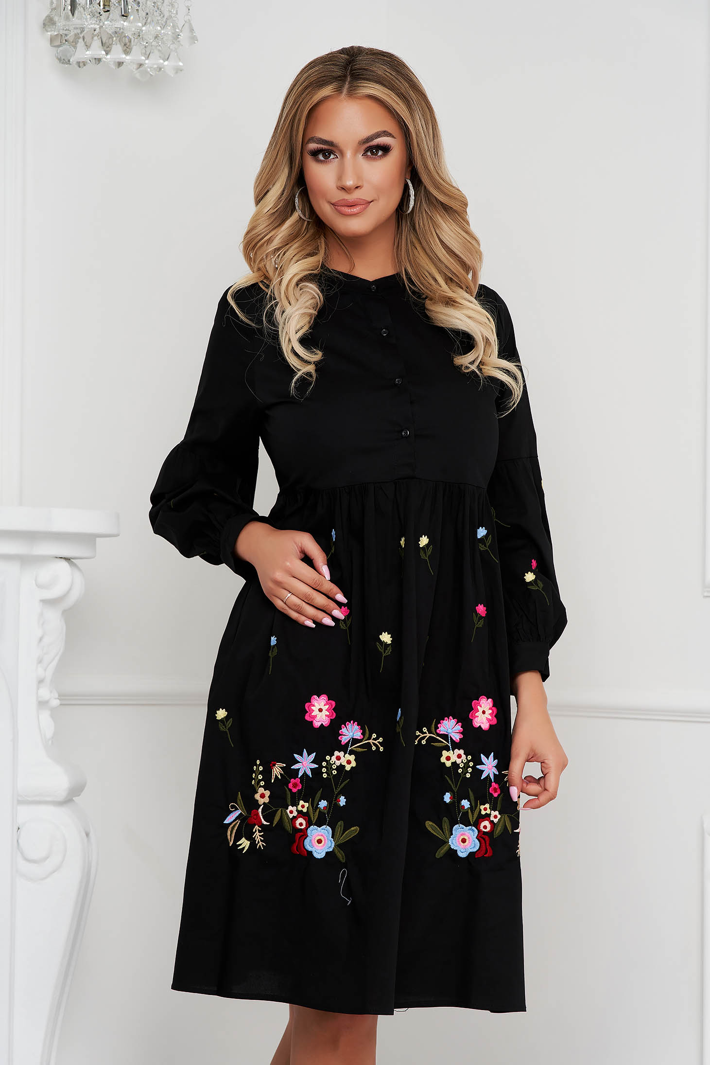 Black dress midi cotton with puffed sleeves