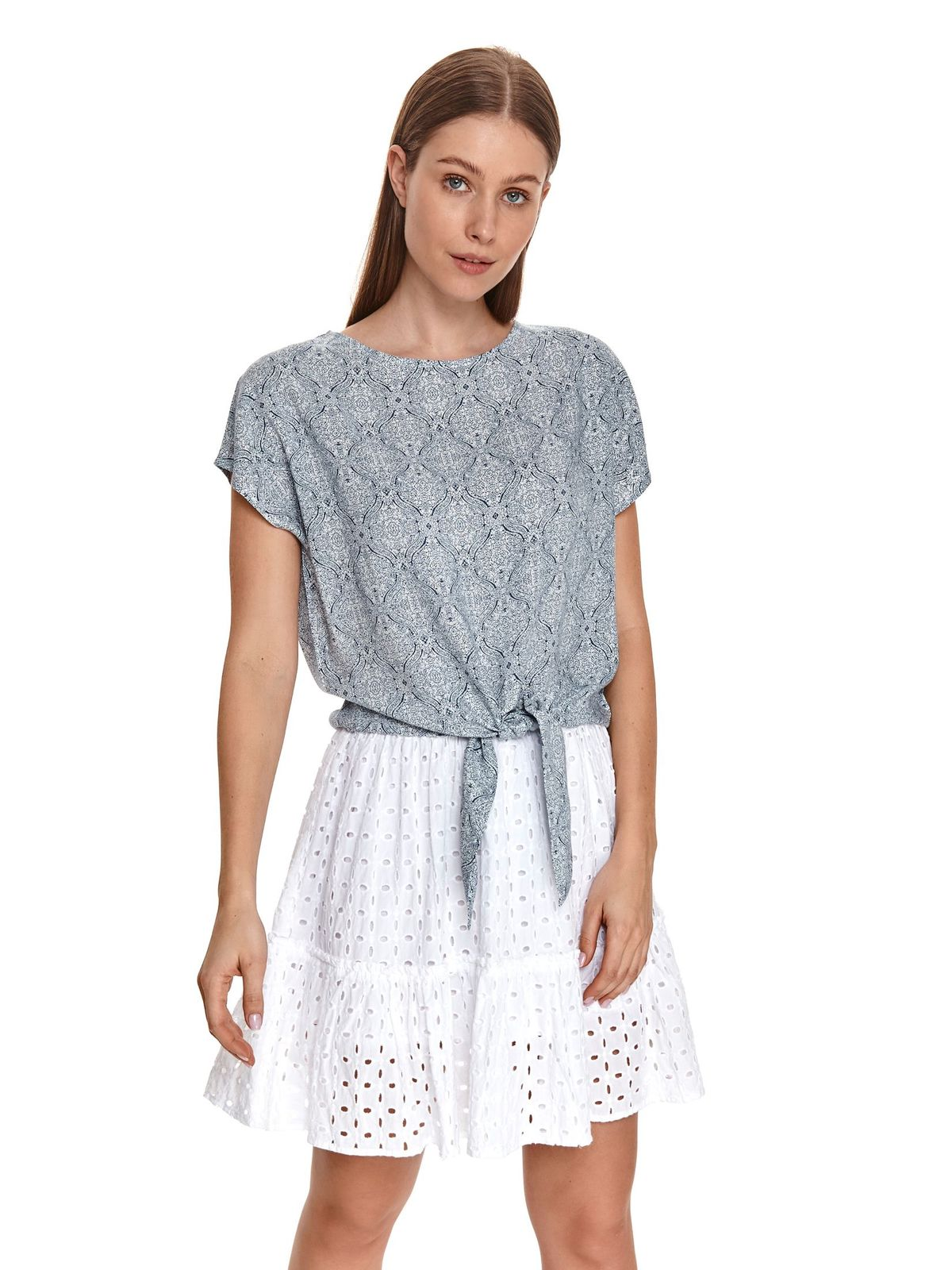 Darkblue women`s blouse loose fit with graphic details