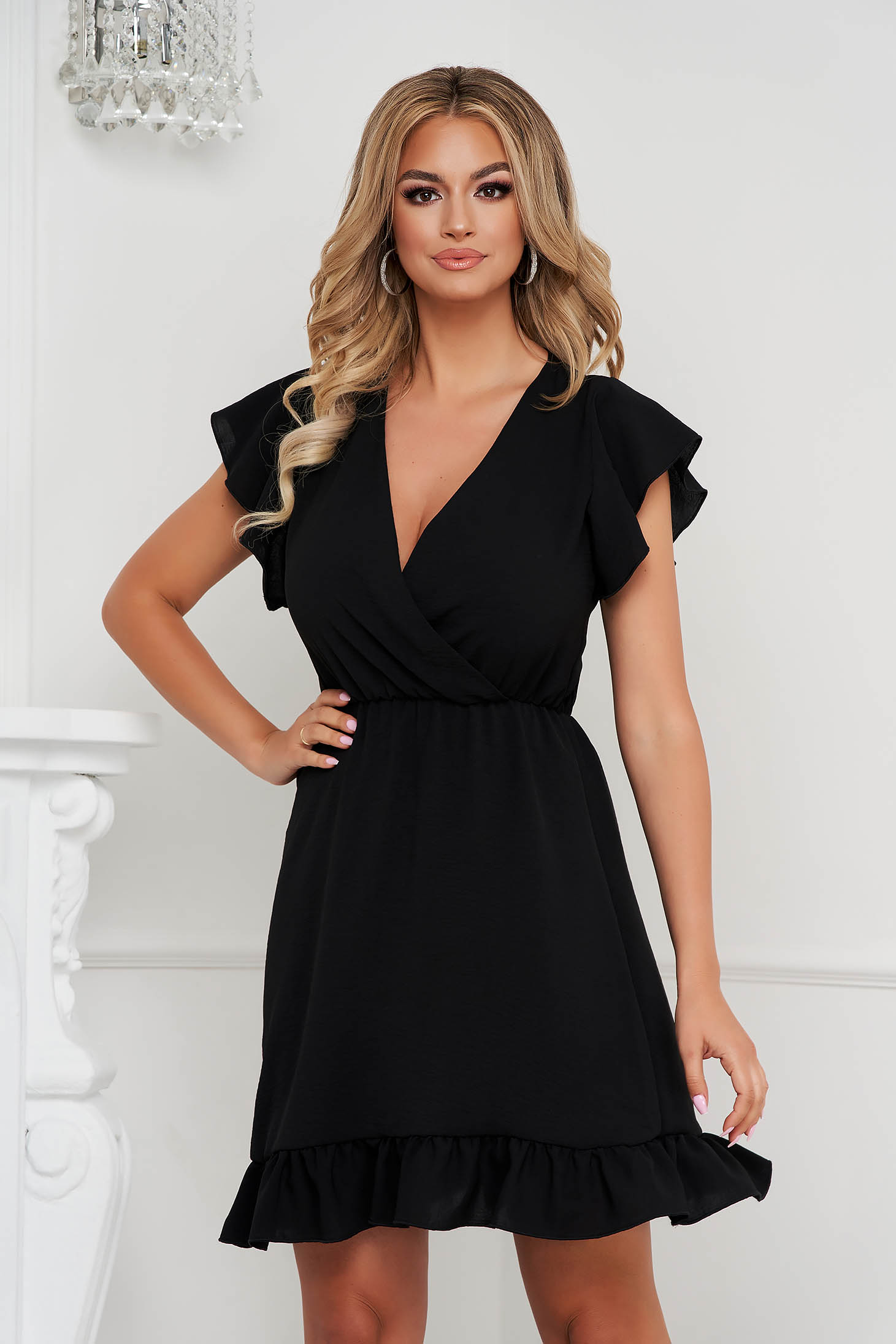 Black dress short cut cloche with elastic waist wrinkled texture with ruffle details