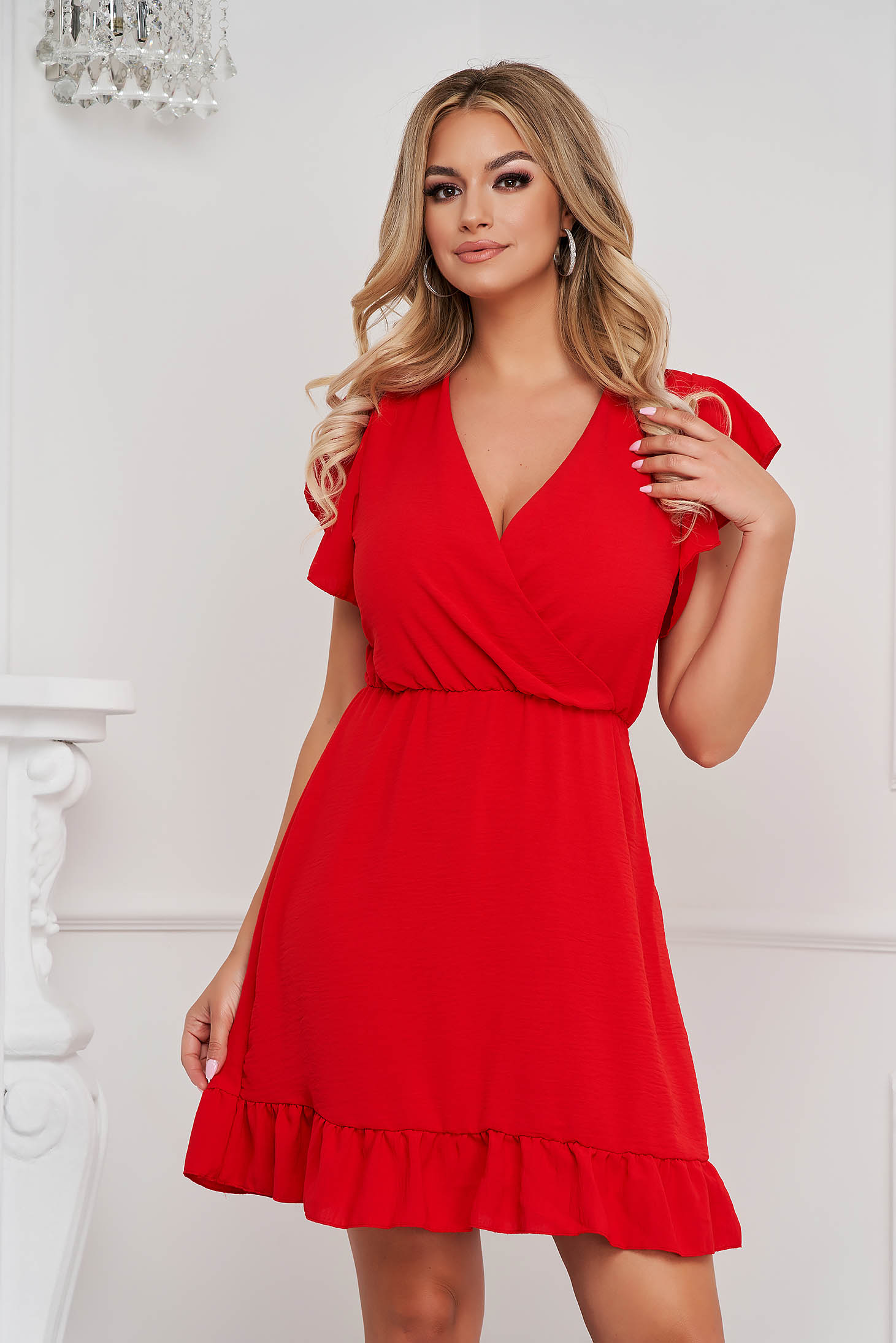 Red dress short cut cloche with elastic waist wrinkled texture with ruffle details
