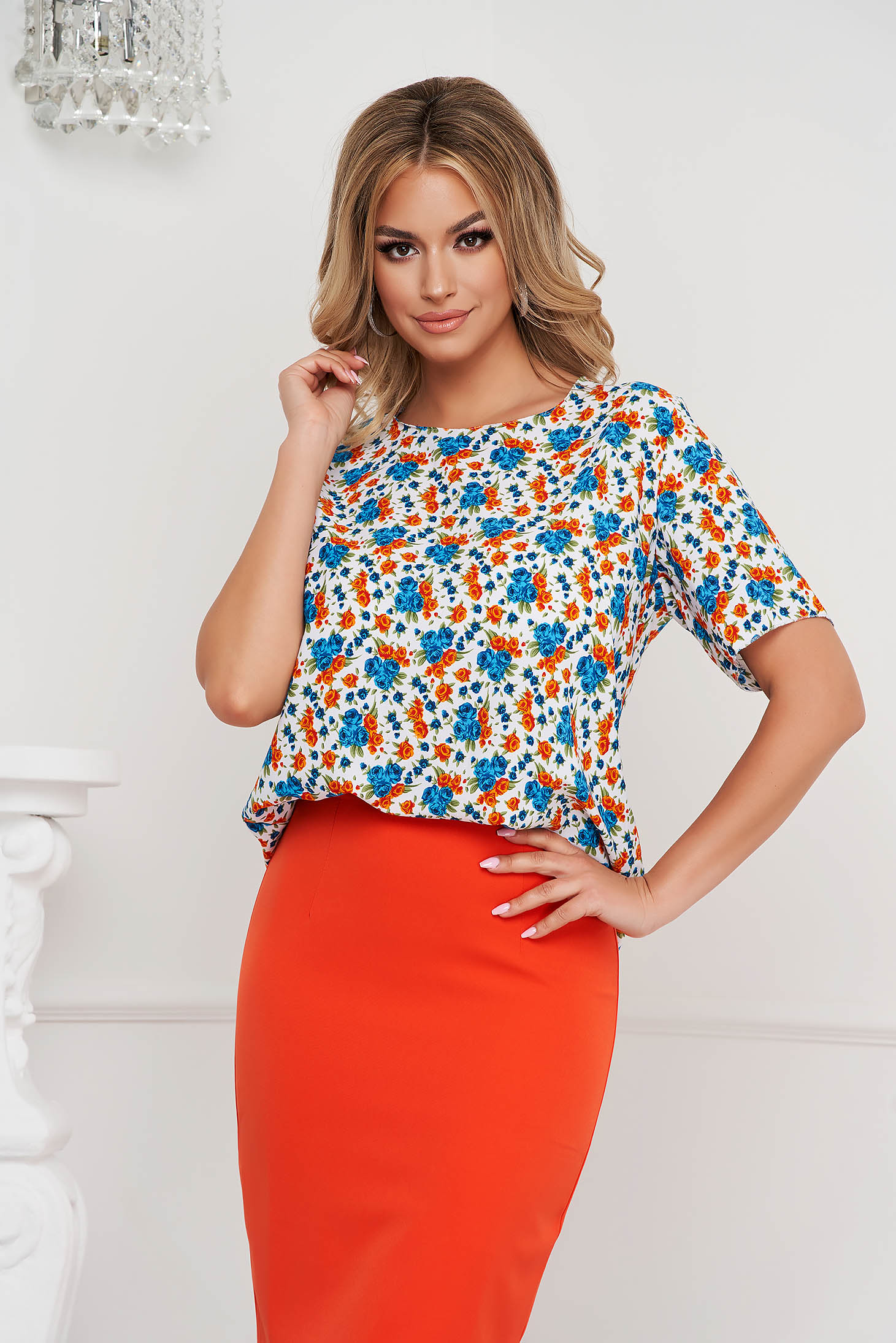 Women`s blouse elegant loose fit airy fabric short sleeves