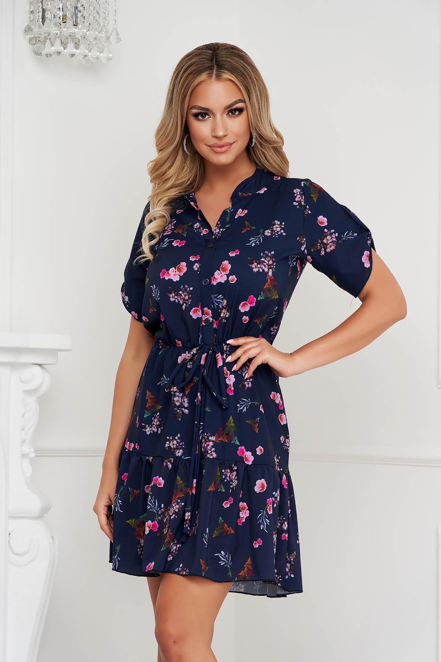 Dress short cut cloche with elastic waist short sleeves