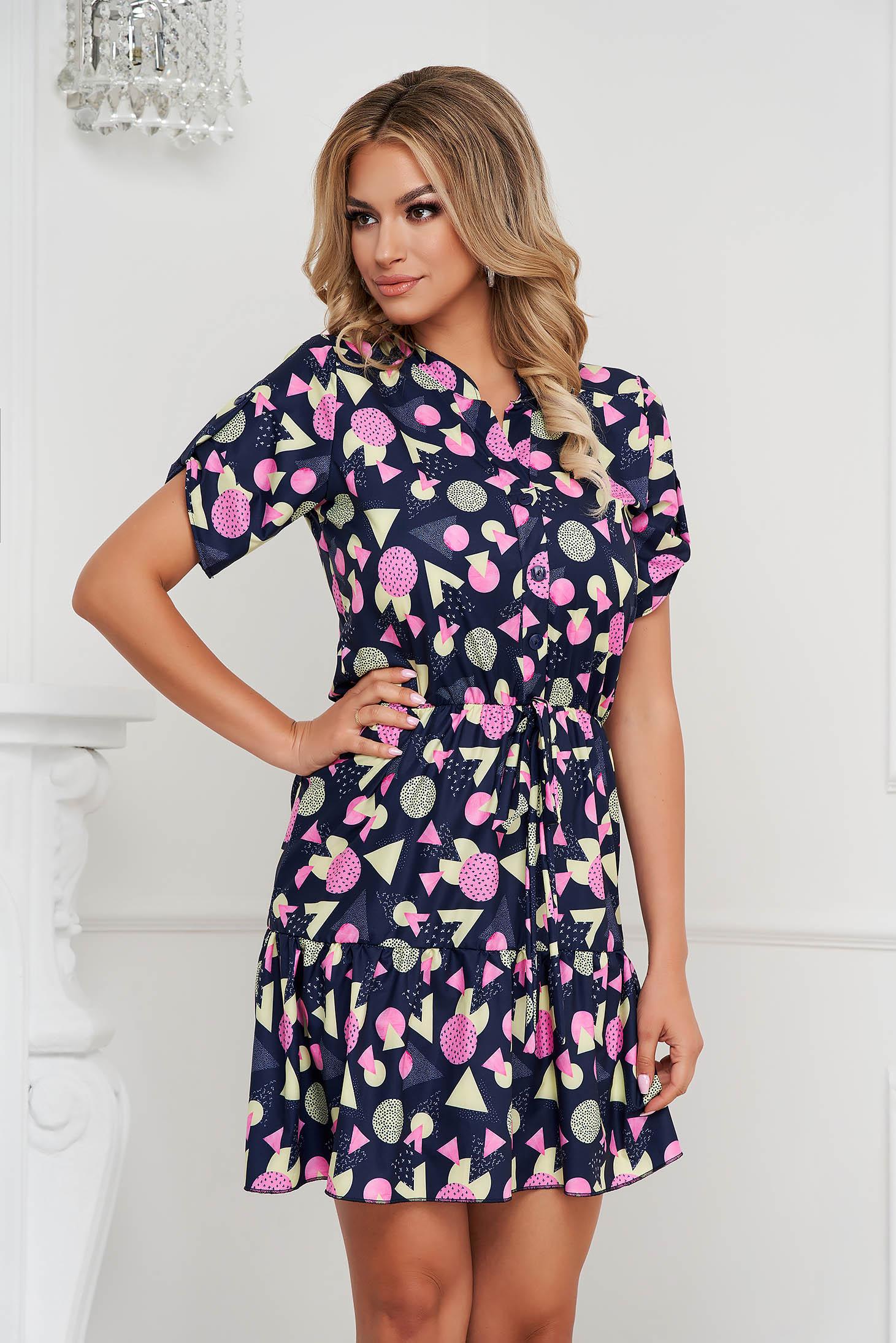 Dress short cut with elastic waist soft fabric