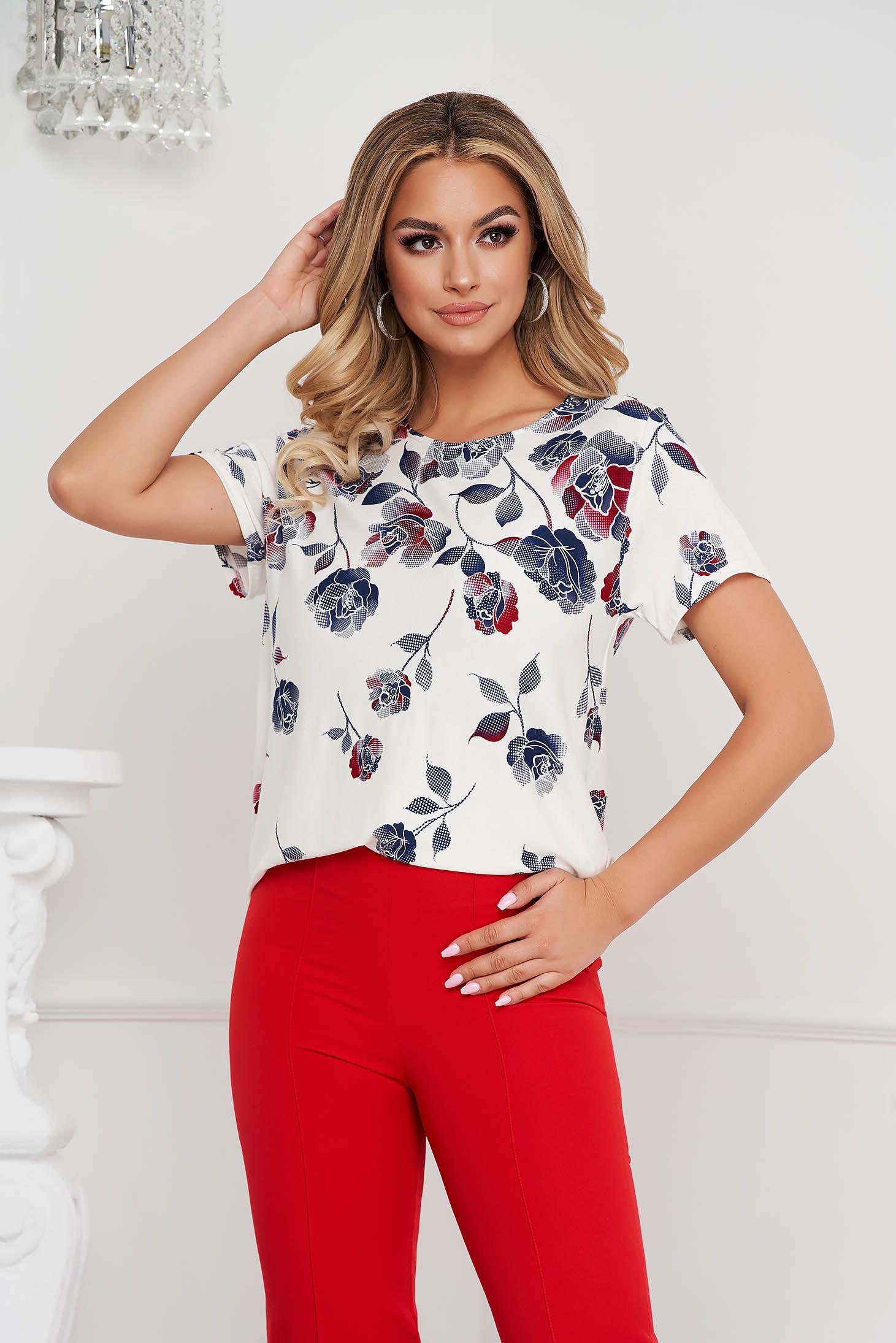 Bluza dama Lady Pandora cu croi larg din material elastic cu imprimeu floral
