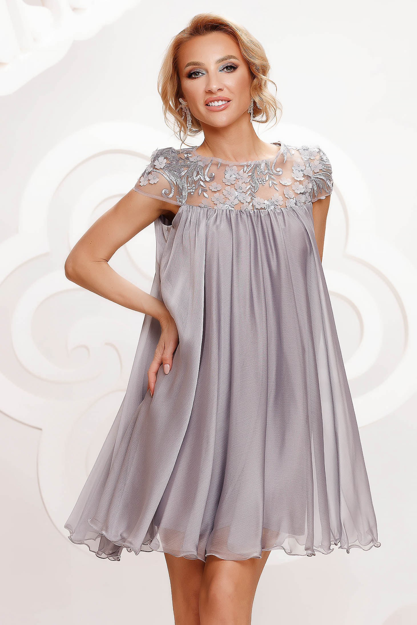 Silver dress from veil fabric occasional with lace details with crystal embellished details loose fit