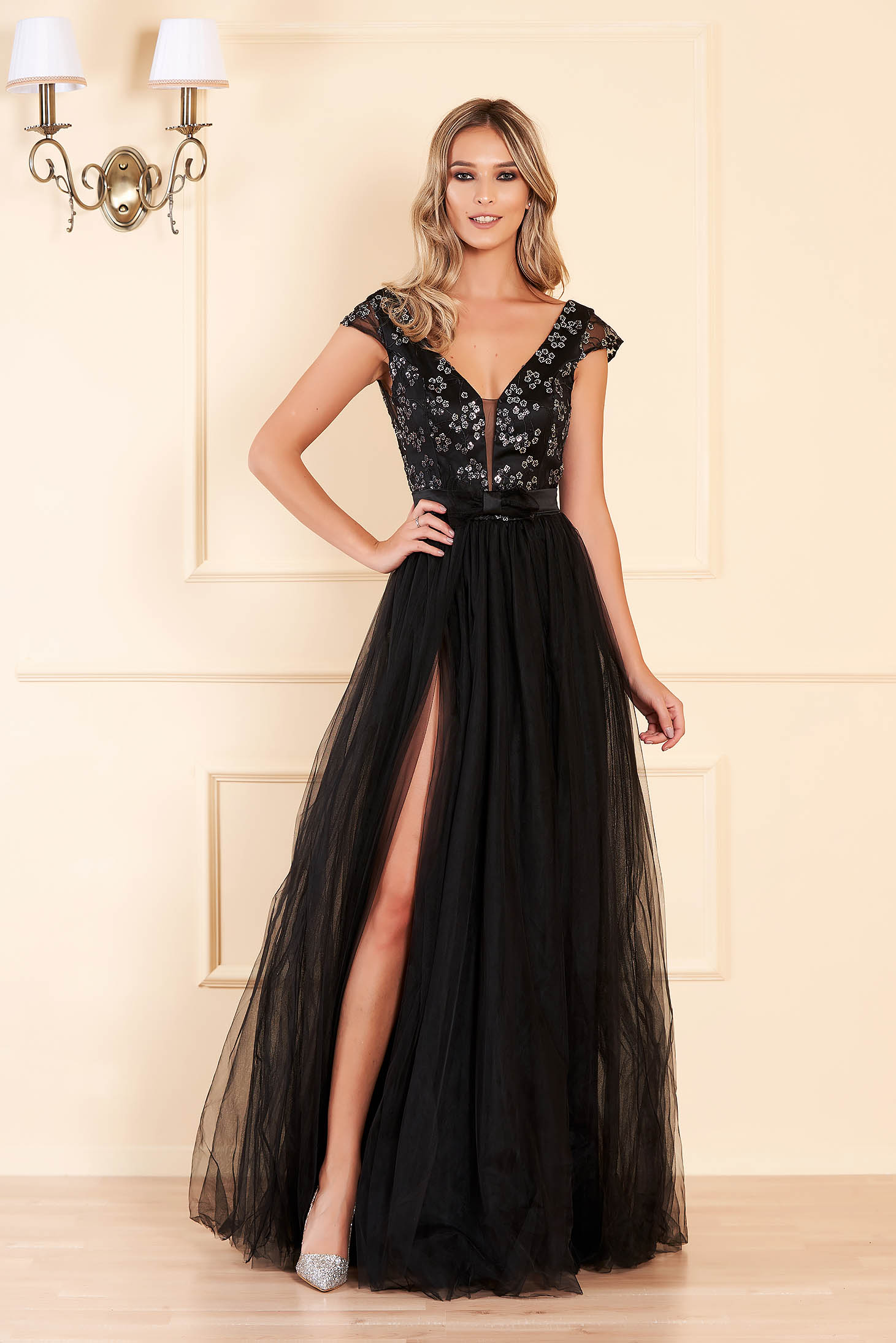 Black dress occasional cloche from tulle with sequin embellished details