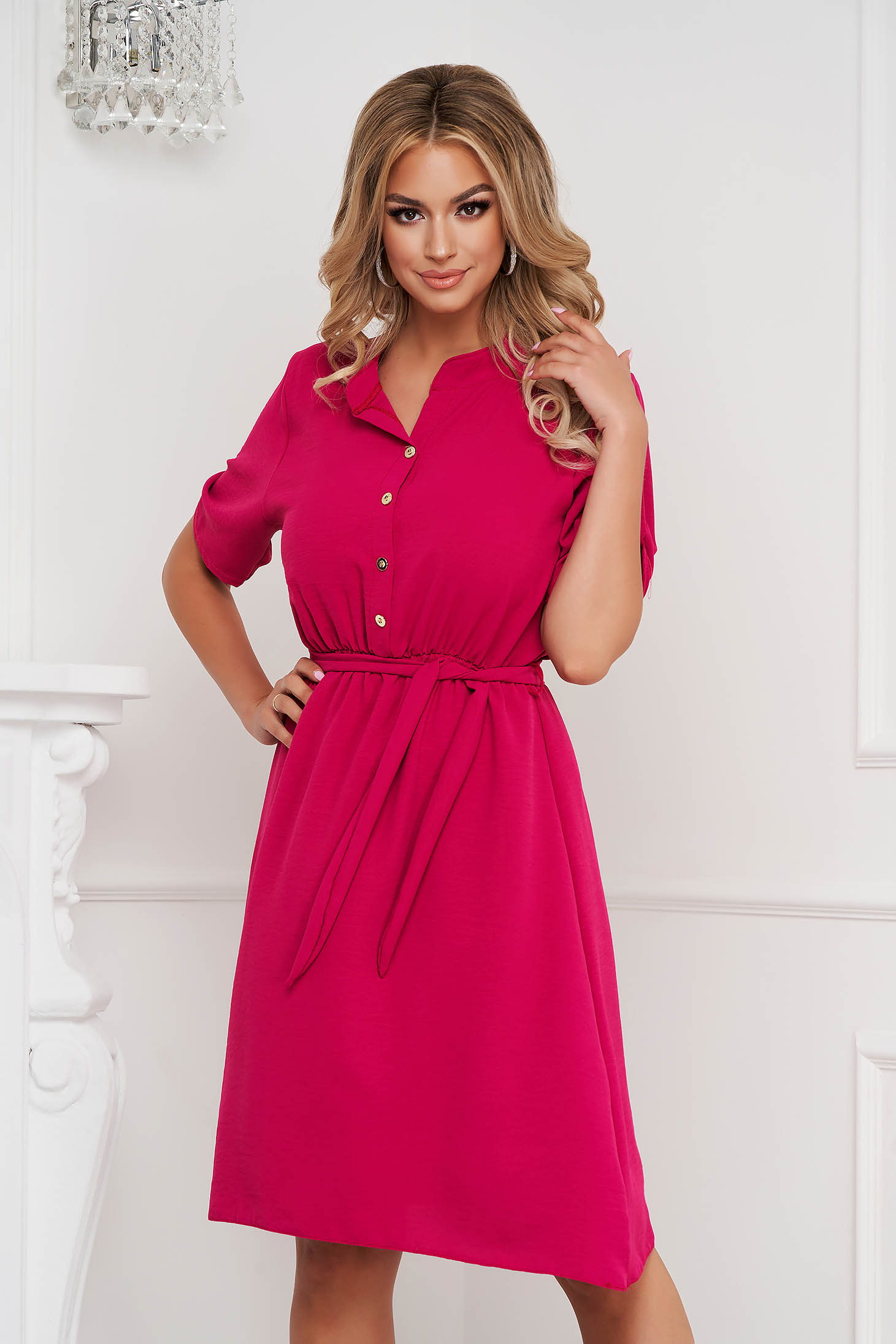 Raspberry dress midi cloche with elastic waist wrinkled material short sleeves