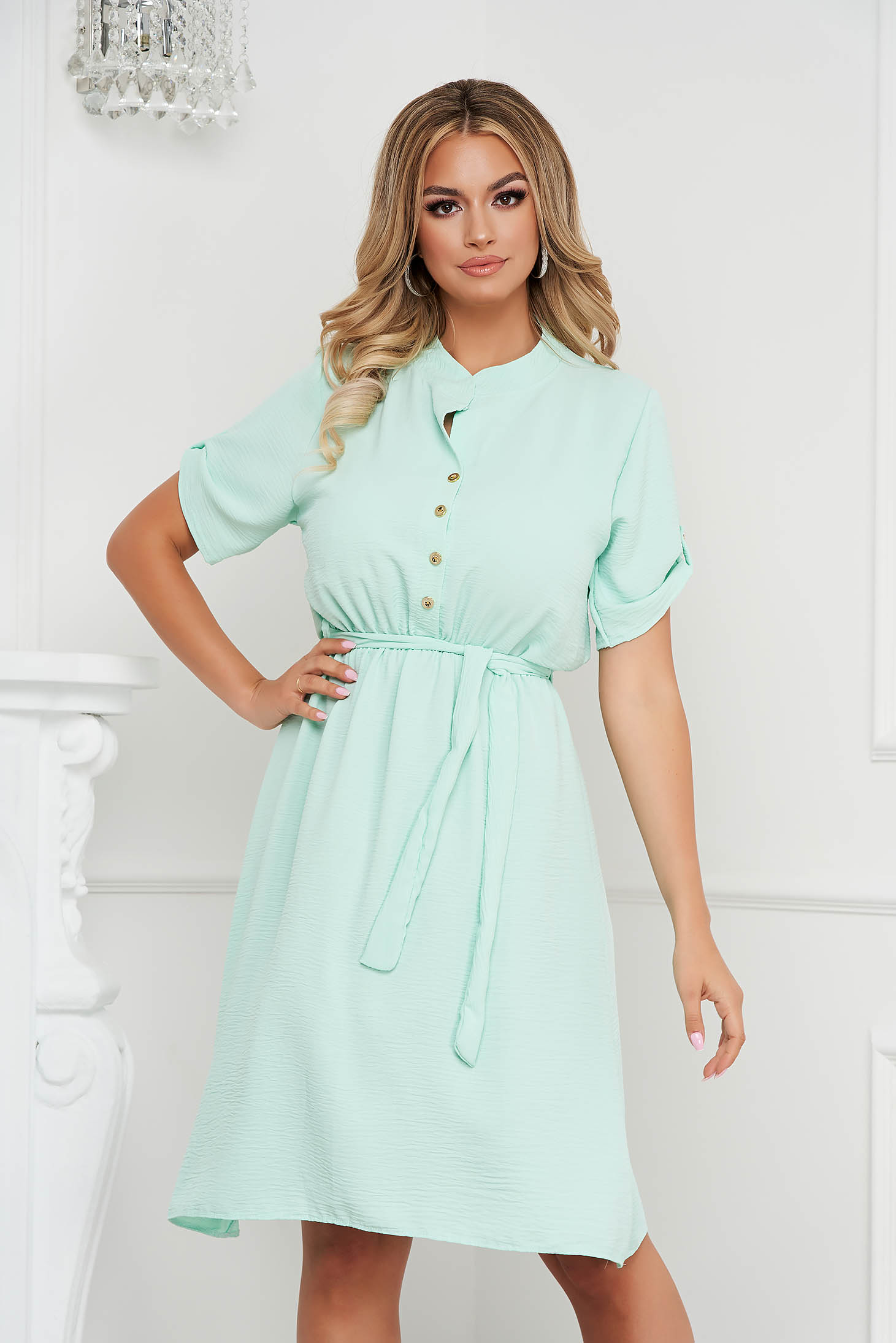 Mint dress midi cloche with elastic waist wrinkled material short sleeves