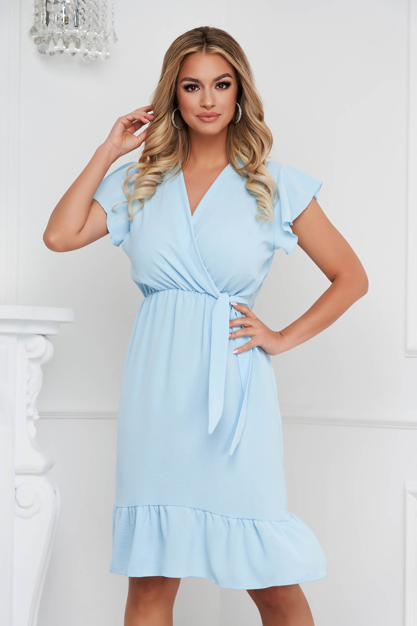 Lightblue dress midi cloche with elastic waist airy fabric with ruffle details