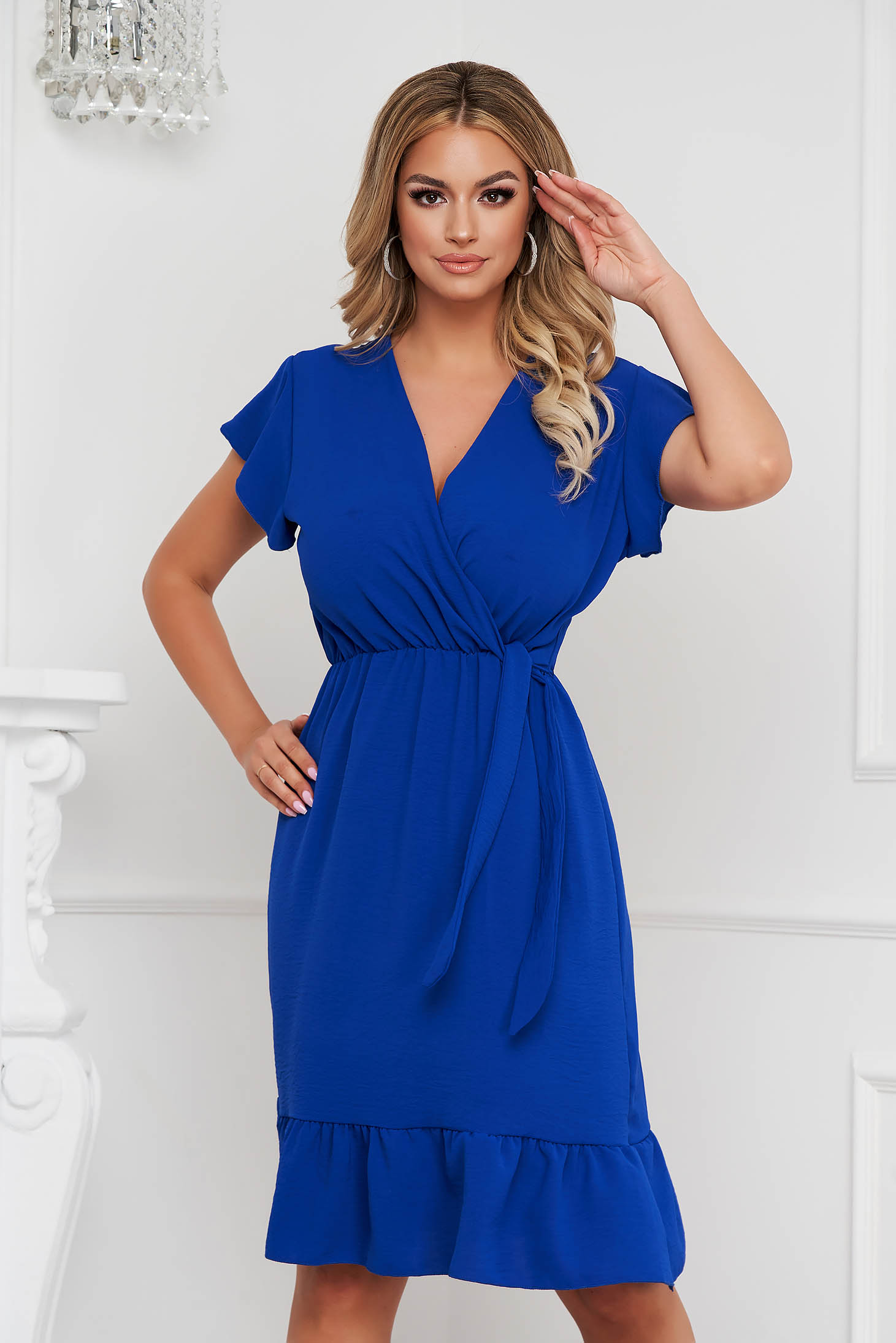 Blue dress midi cloche with elastic waist airy fabric with ruffle details