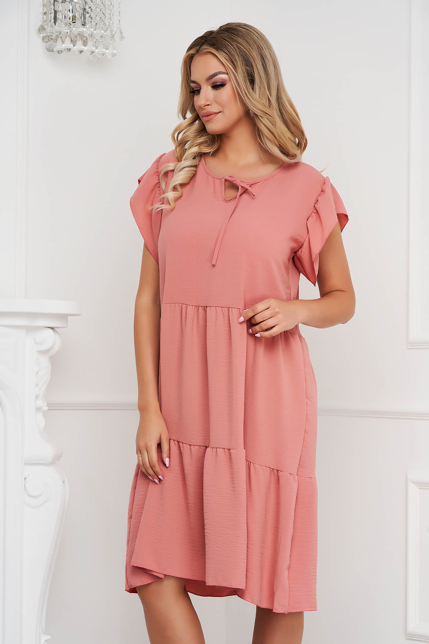 Lightpink dress midi loose fit airy fabric with ruffle details