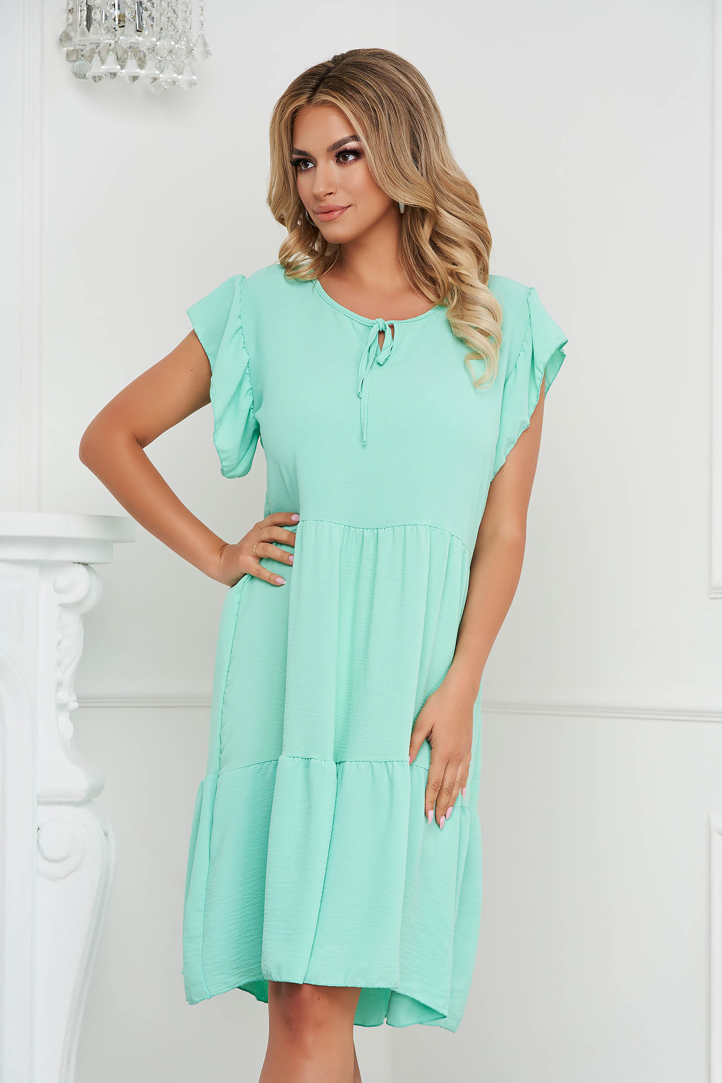 Mint dress midi loose fit airy fabric with ruffle details