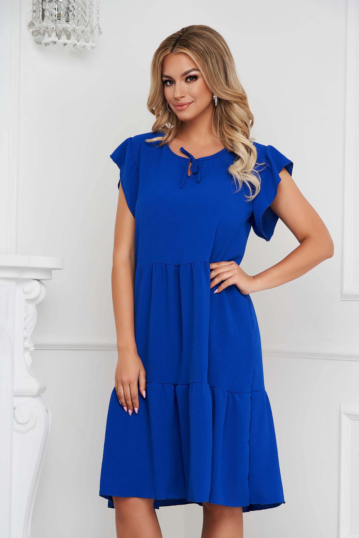 Blue dress midi loose fit airy fabric with ruffle details