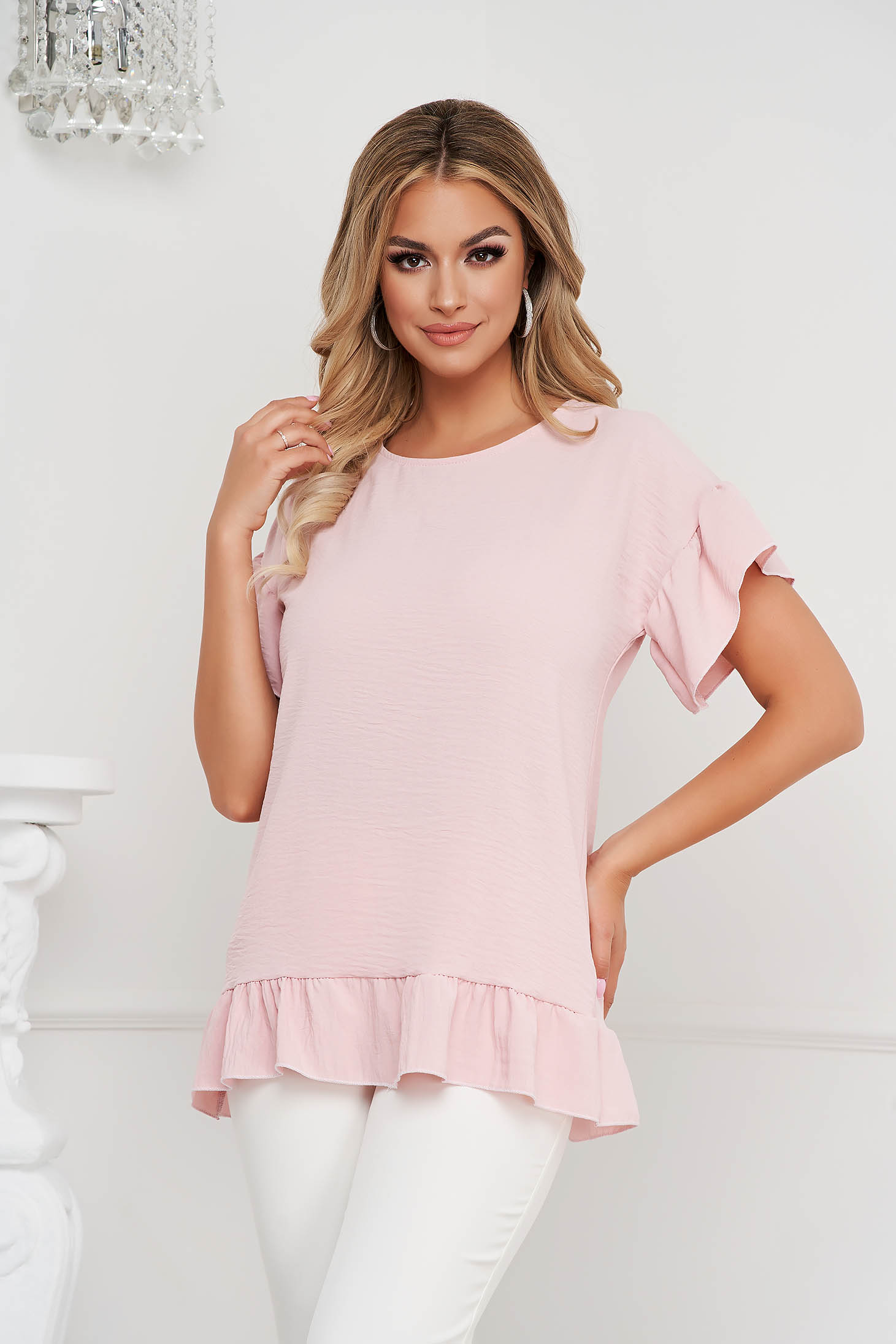 Lightpink women`s blouse loose fit airy fabric with ruffle details