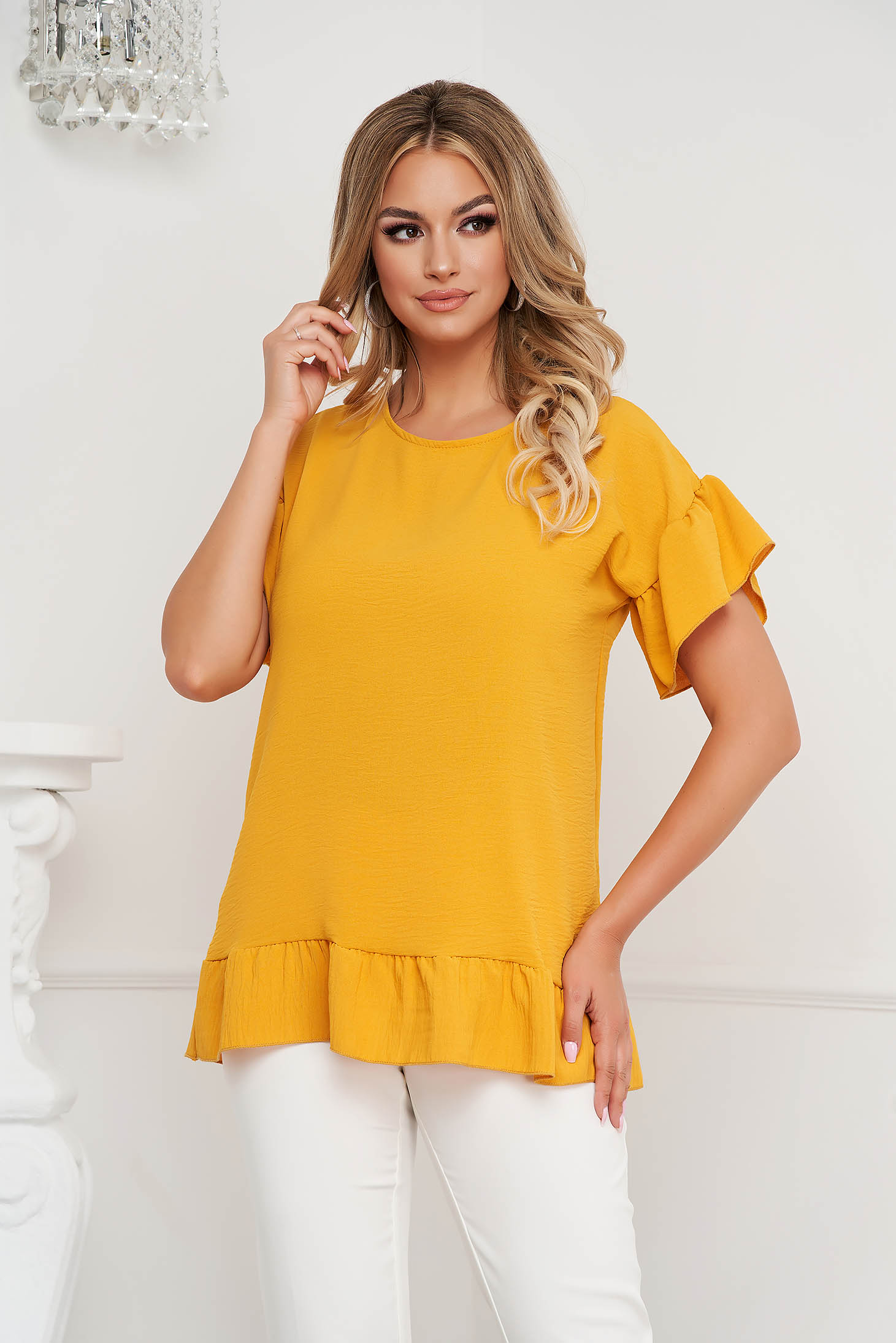 Mustard women`s blouse loose fit airy fabric with ruffle details