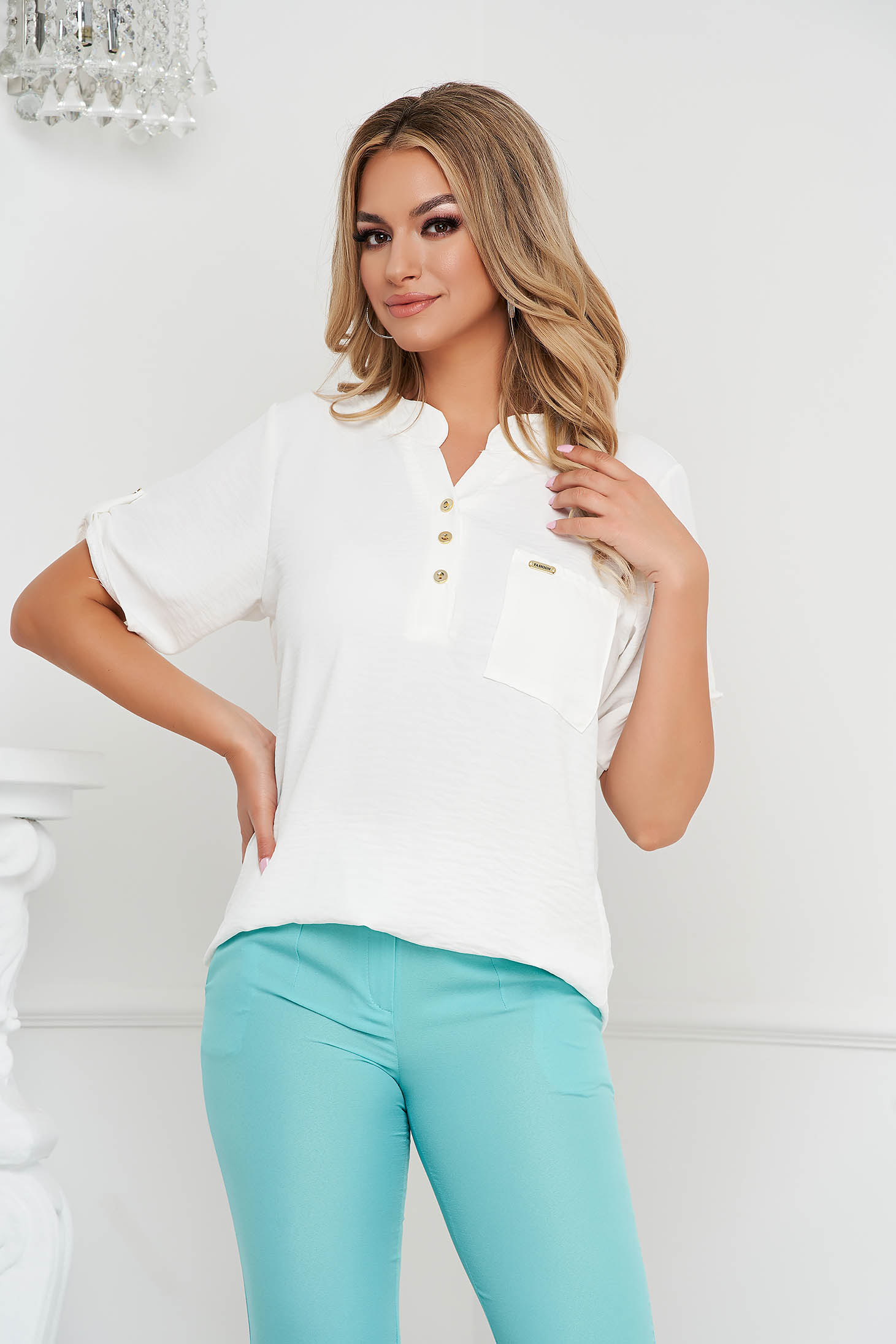 Ivory women`s blouse loose fit wrinkled material a front pocket