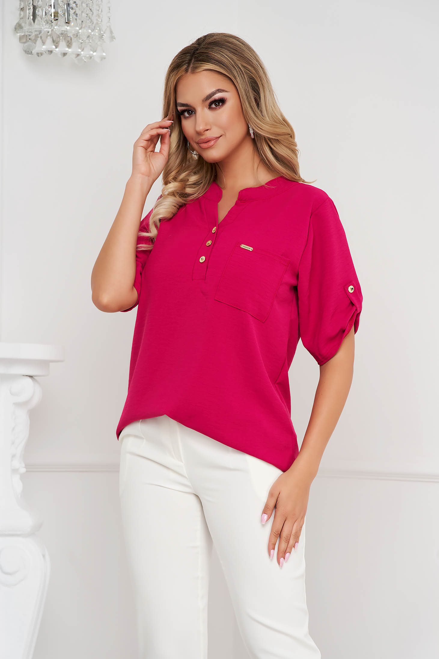 Raspberry women`s blouse loose fit wrinkled material a front pocket