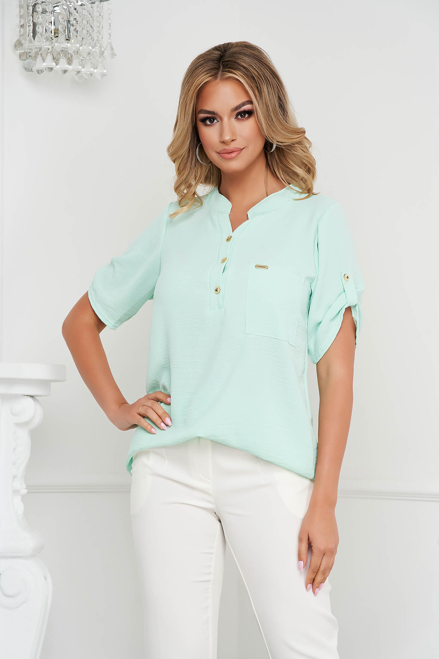 Mint women`s blouse loose fit wrinkled material a front pocket