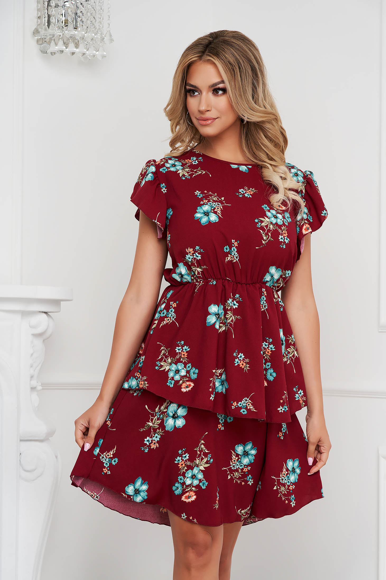 Dress midi cloche with elastic waist with ruffle details short sleeves