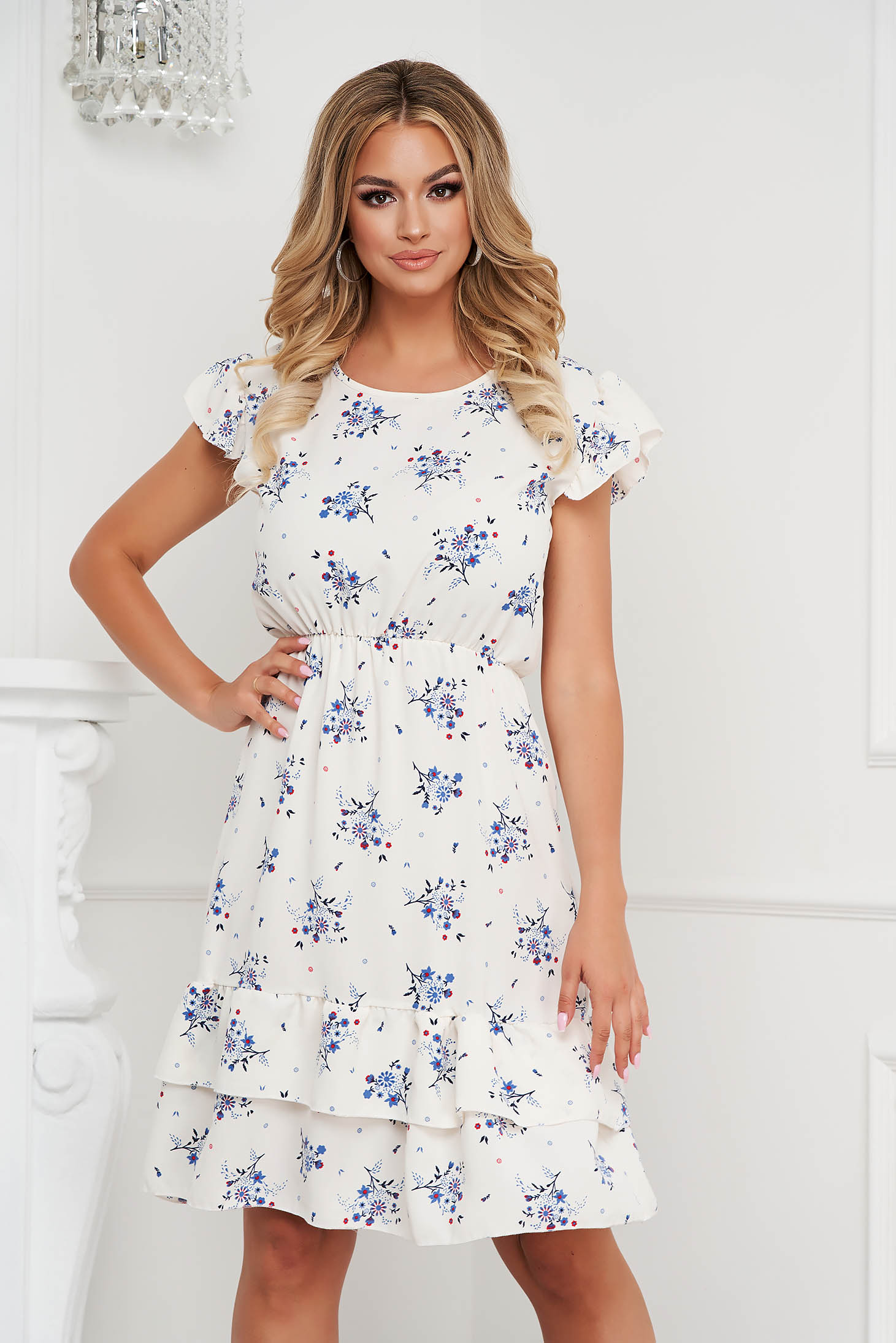 Dress midi cloche with elastic waist airy fabric with ruffle details