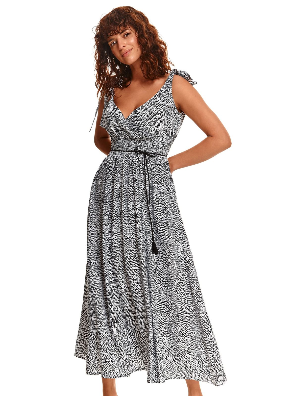 White dress long cloche with elastic waist is fastened around the waist with a ribbon