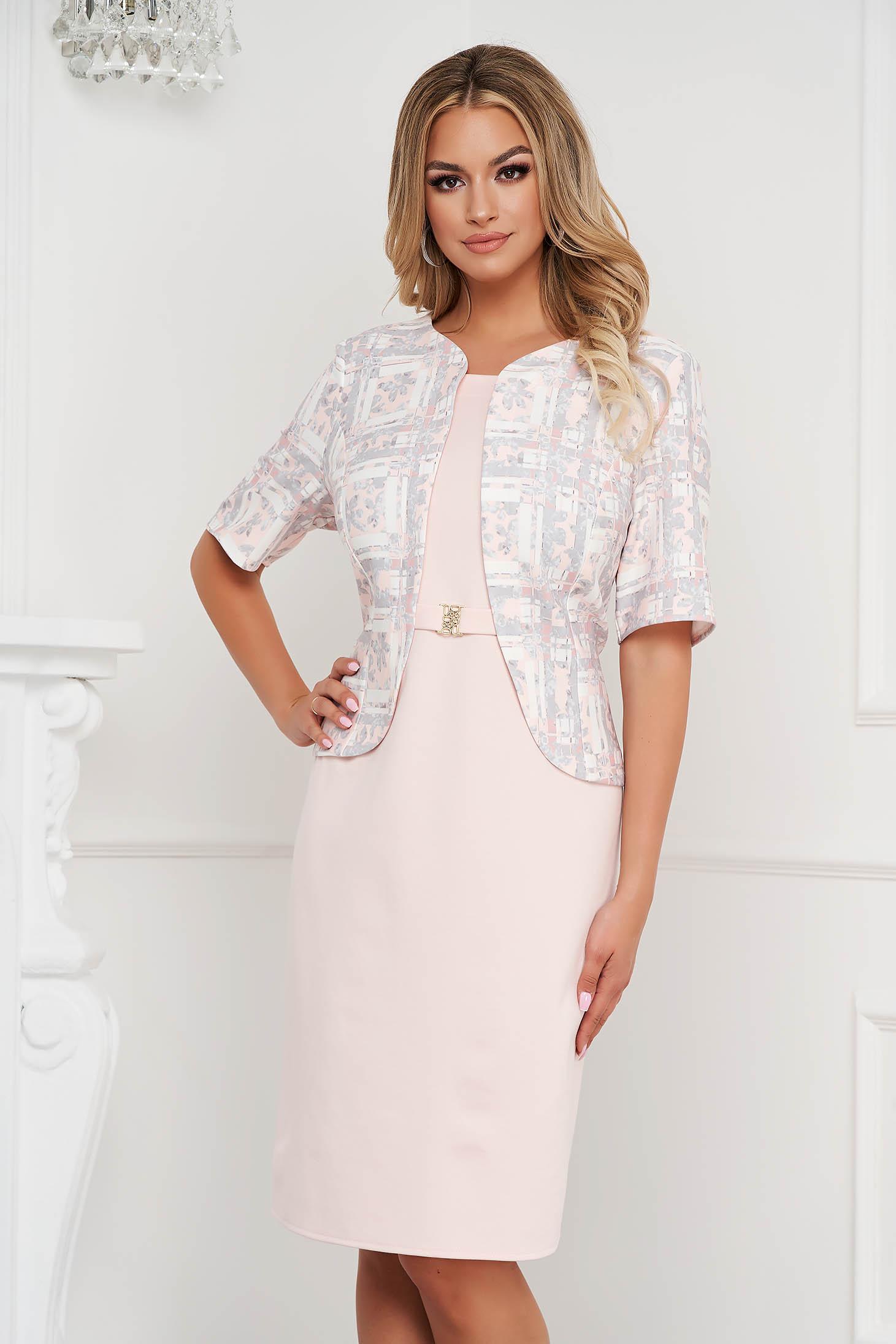 Lightpink dress elegant midi pencil from elastic fabric women`s blazer