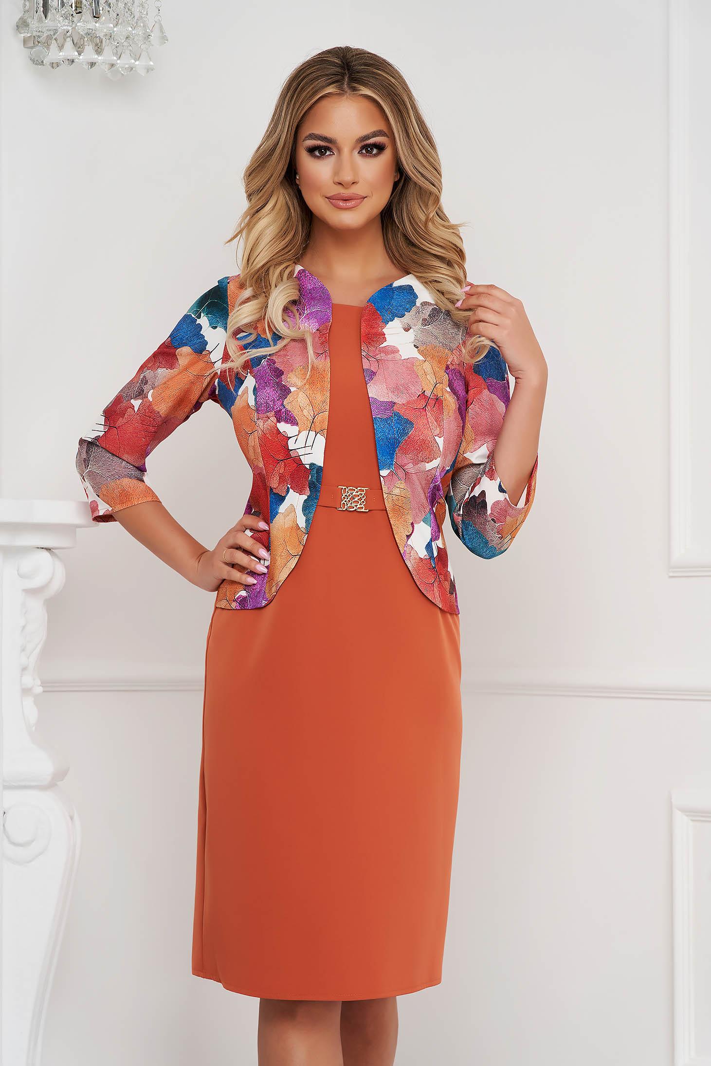 Bricky dress elegant midi pencil from elastic fabric women`s blazer
