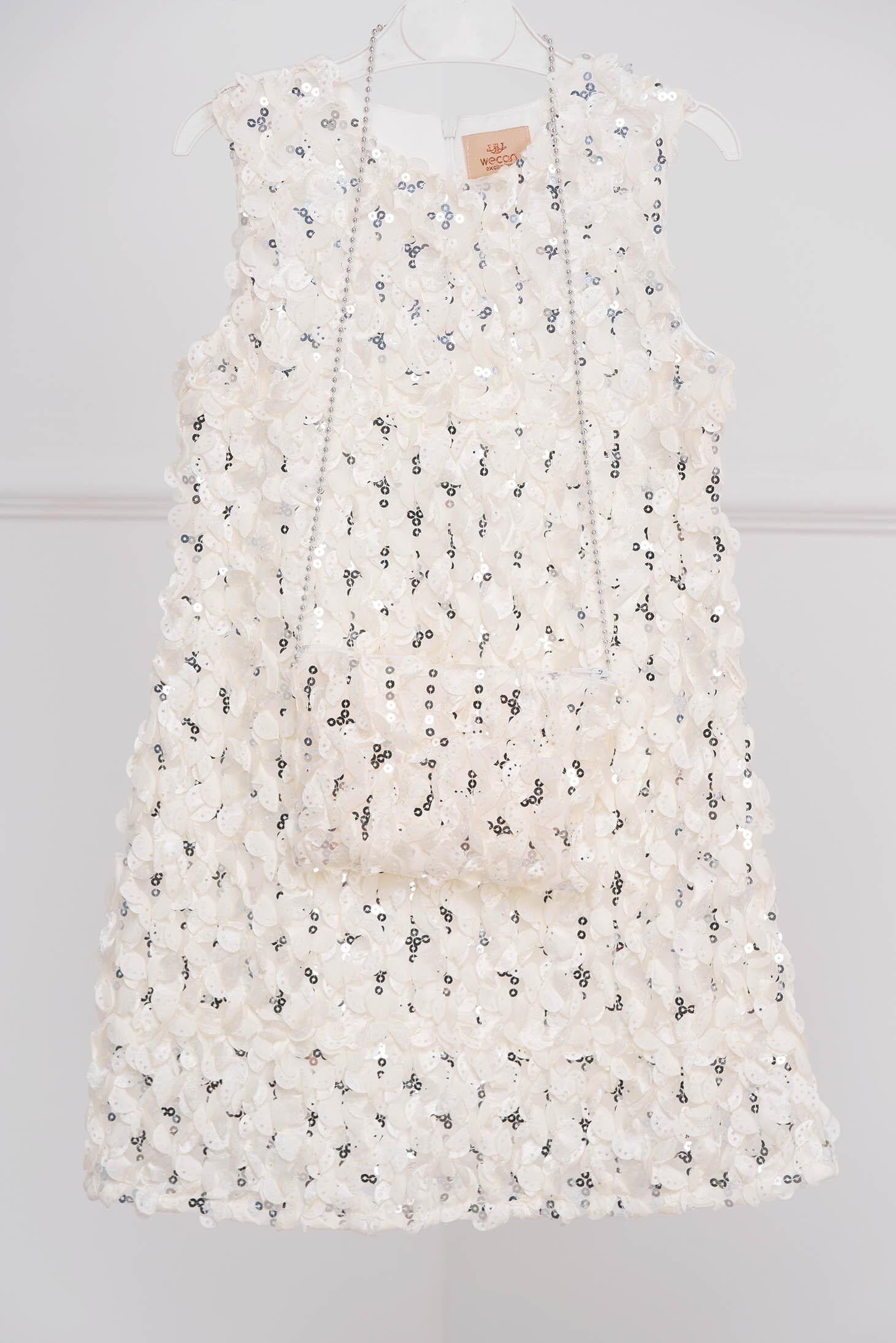 Rochie pentru fetite ivoire de ocazie cu aplicatii cu paiete din material cu efect 3d fara maneci