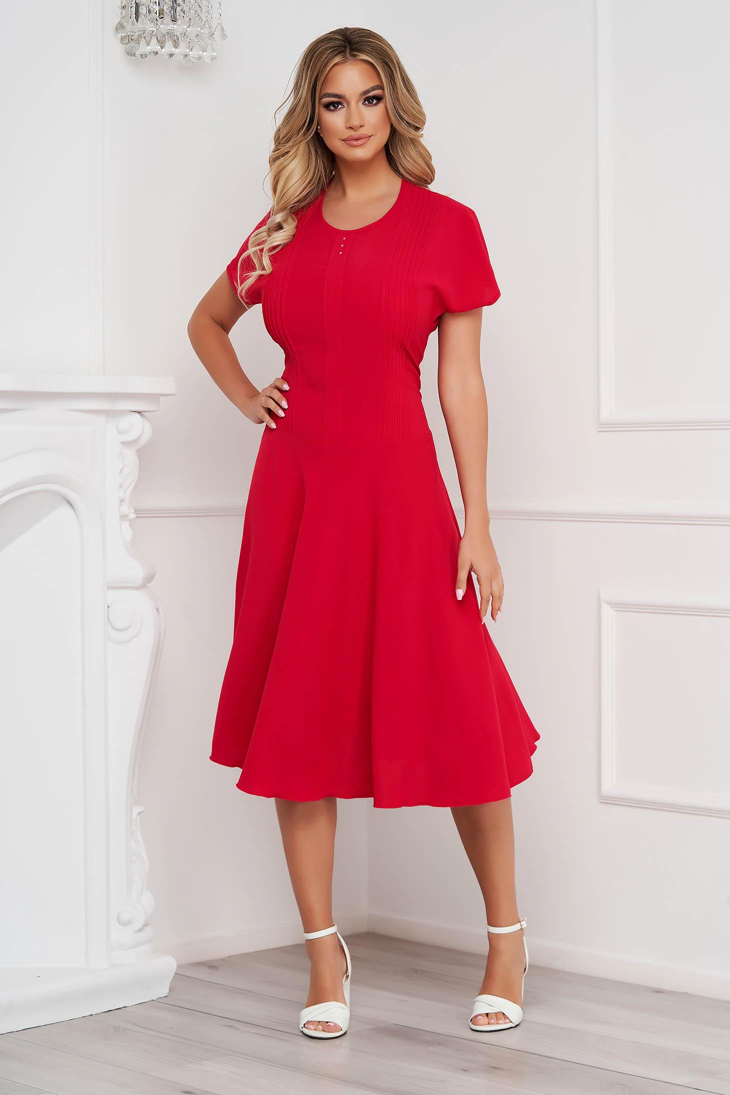 Fuchsia dress midi cloche wrinkled material short sleeves