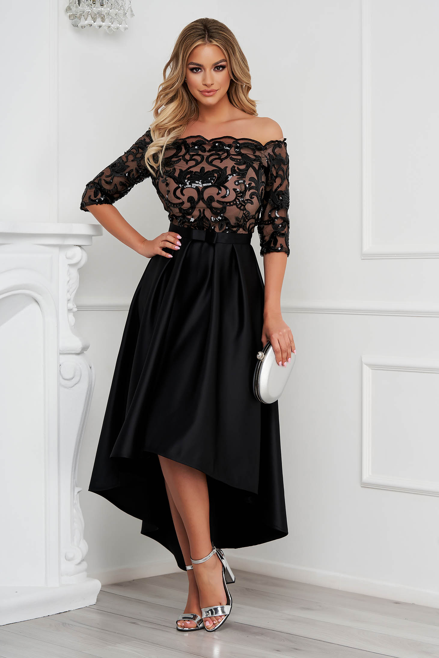 StarShinerS black dress midi occasional asymmetrical cloche with sequin embellished details laced