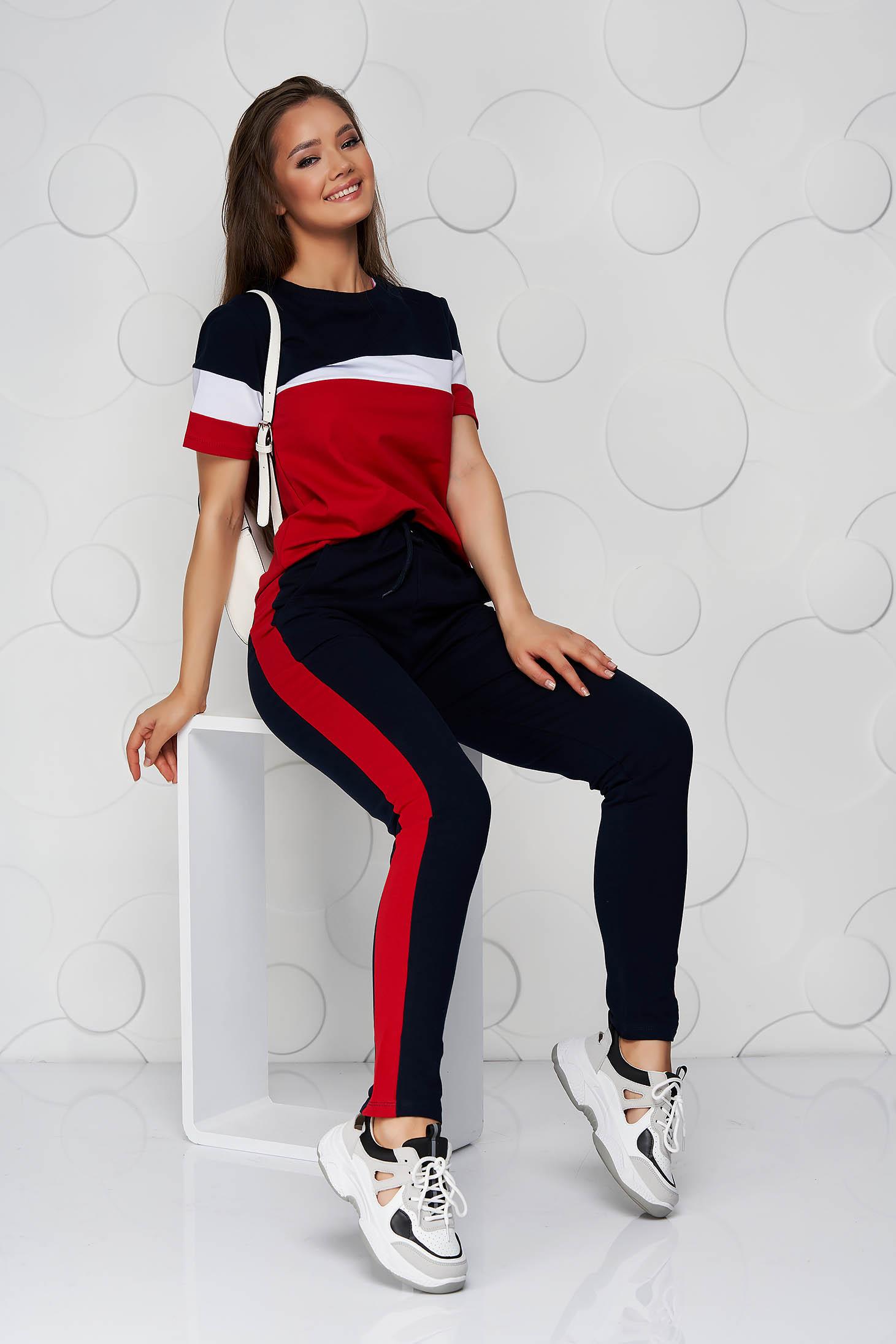 Piros sportos szettek pamutból készült zsebes