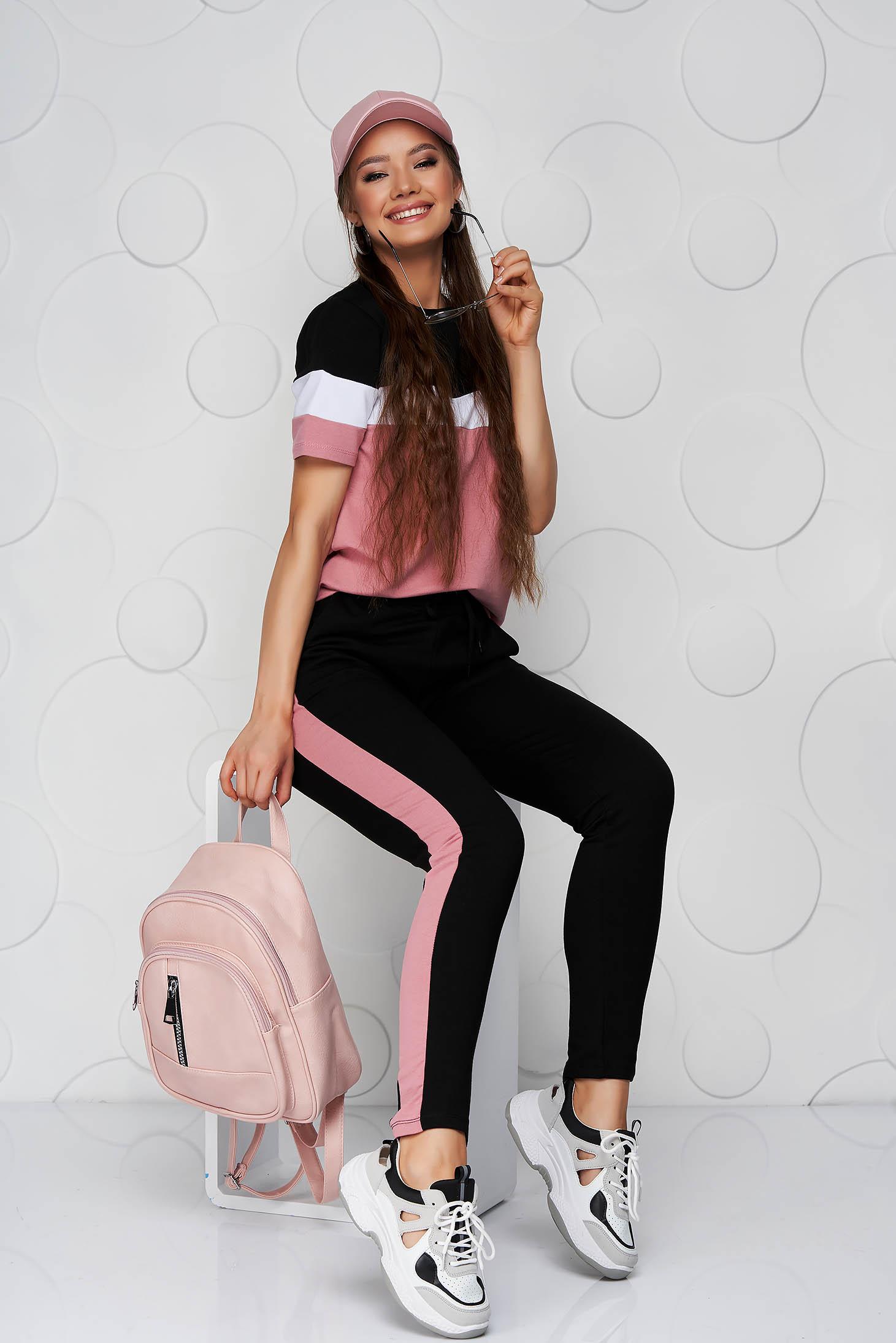 Trening SunShine negru cu roz prafuit din bumbac cu talie normala si buzunare