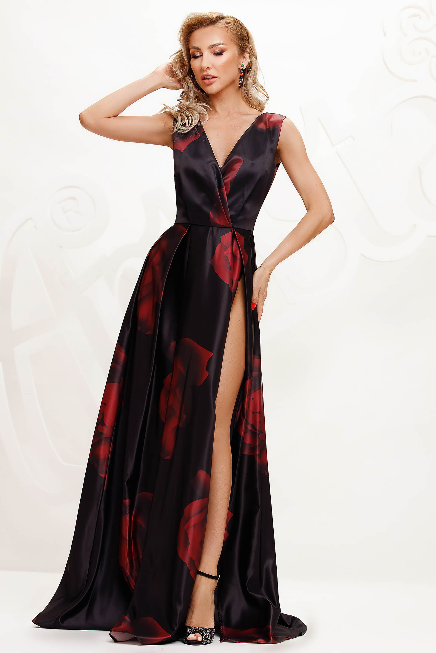 Burgundy dress with floral print cloche occasional slit from satin