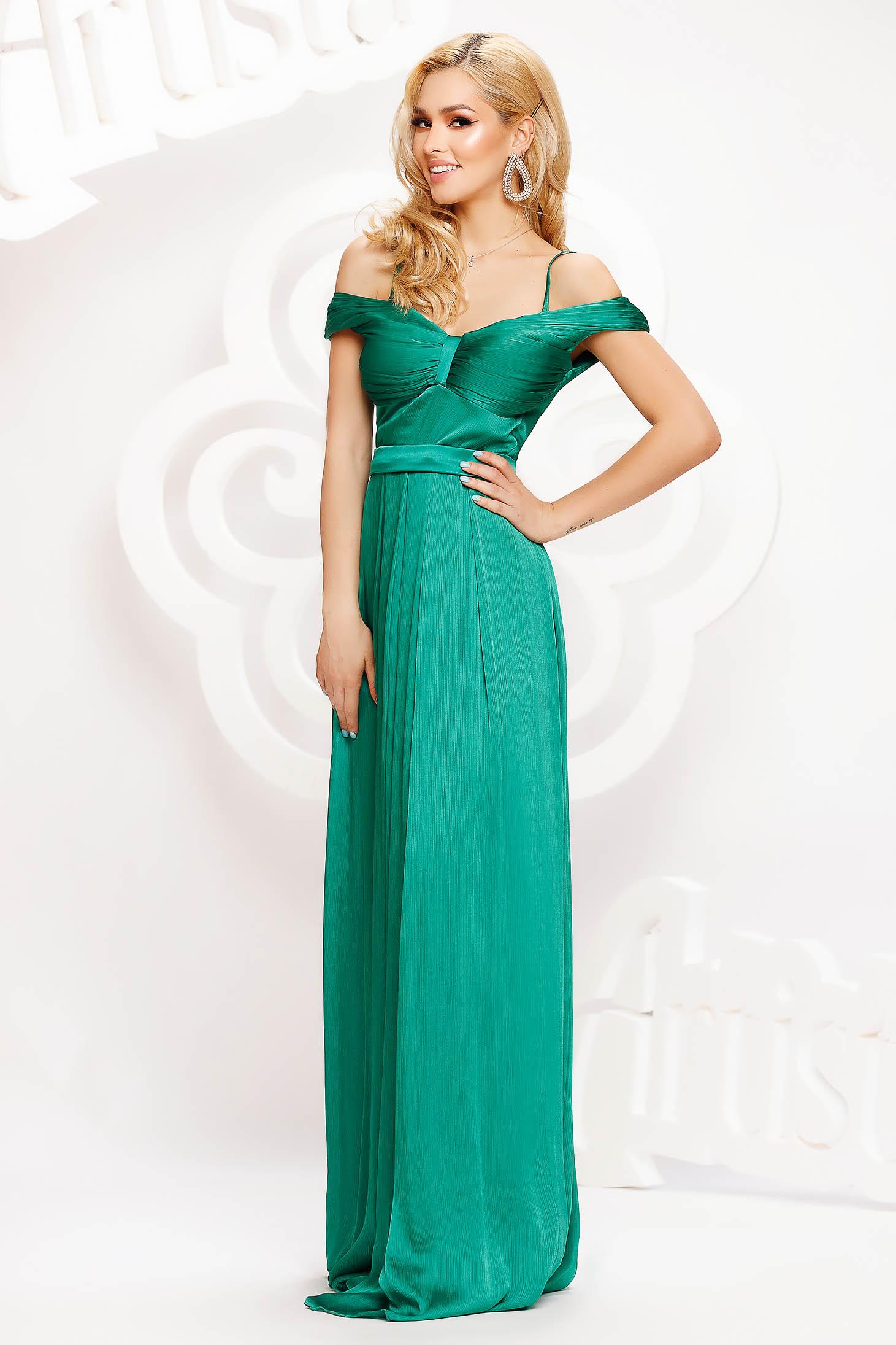 Zöld alkalmi hosszú harang ruha szaténból