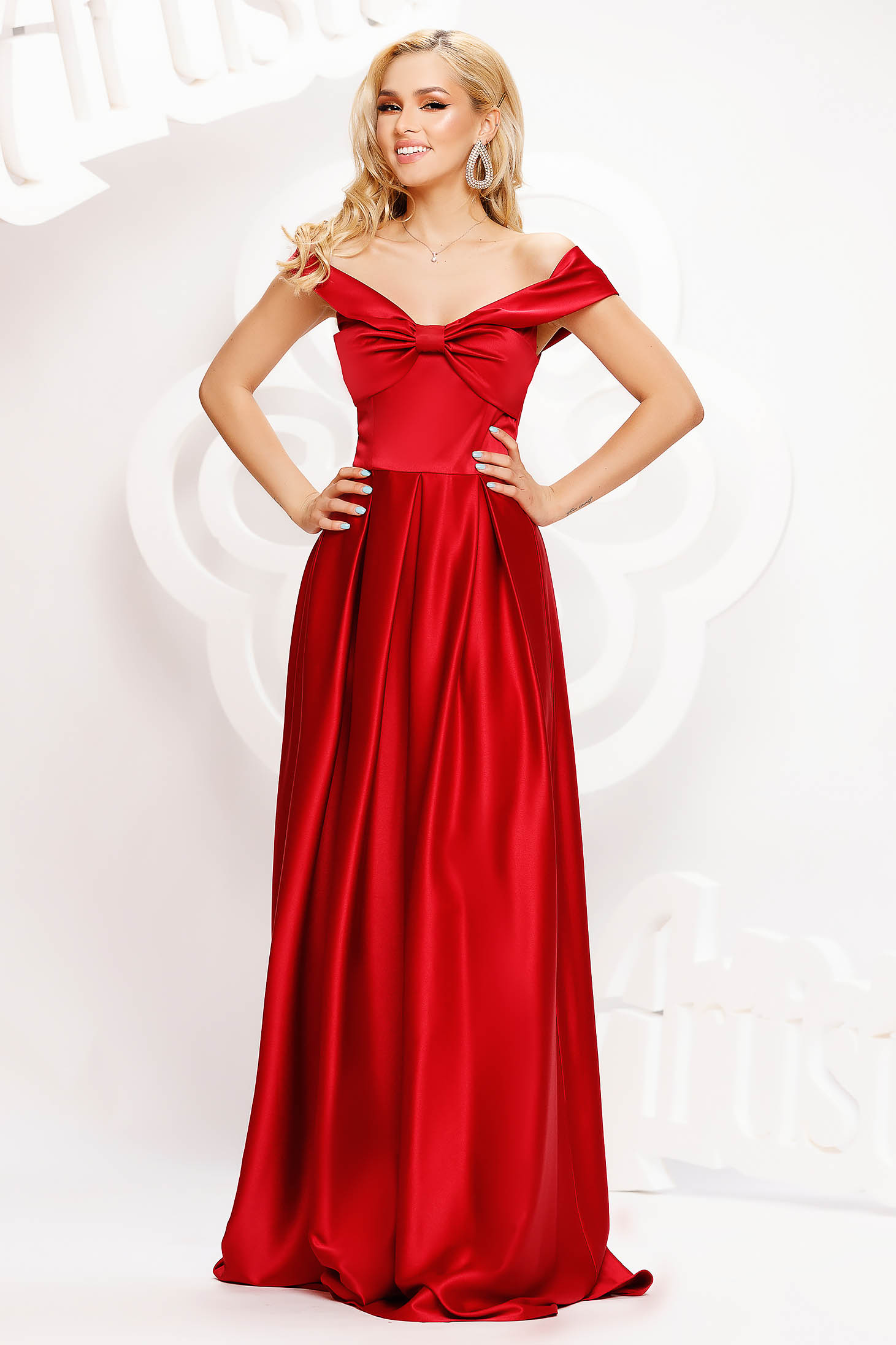 Burgundy dress long cloche from satin naked shoulders with bow