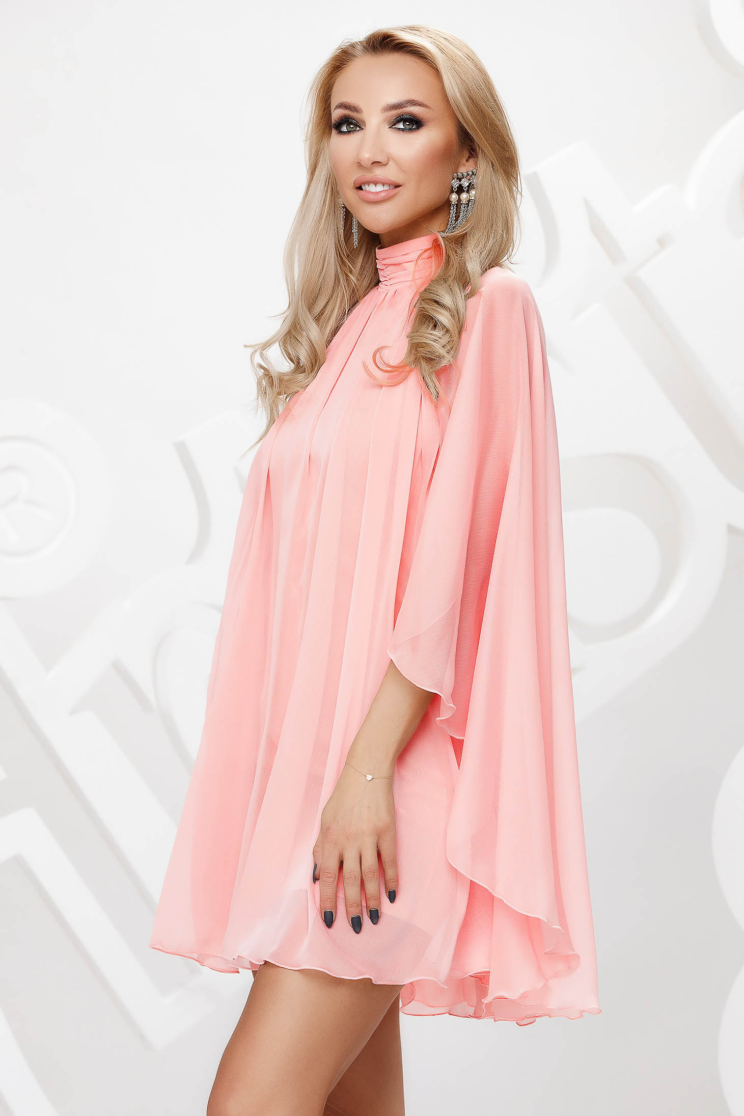 Coral from veil fabric with turtle neck short cut occasional dress